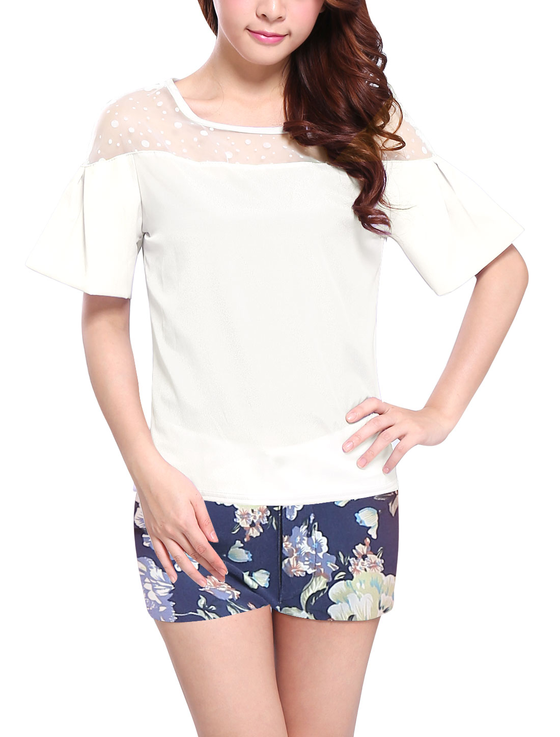 Lady Sweet Short Raglan Sleeve Organza Panel Dots Design Top White XS
