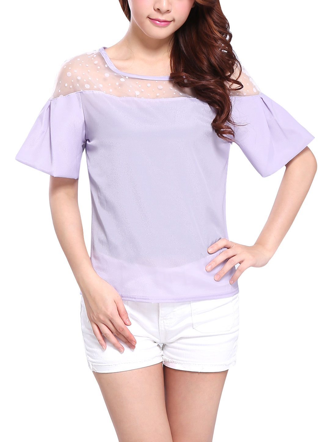 Lady Sweet Round Neck Organza Patch Gathered Detail Top Light Purple XS
