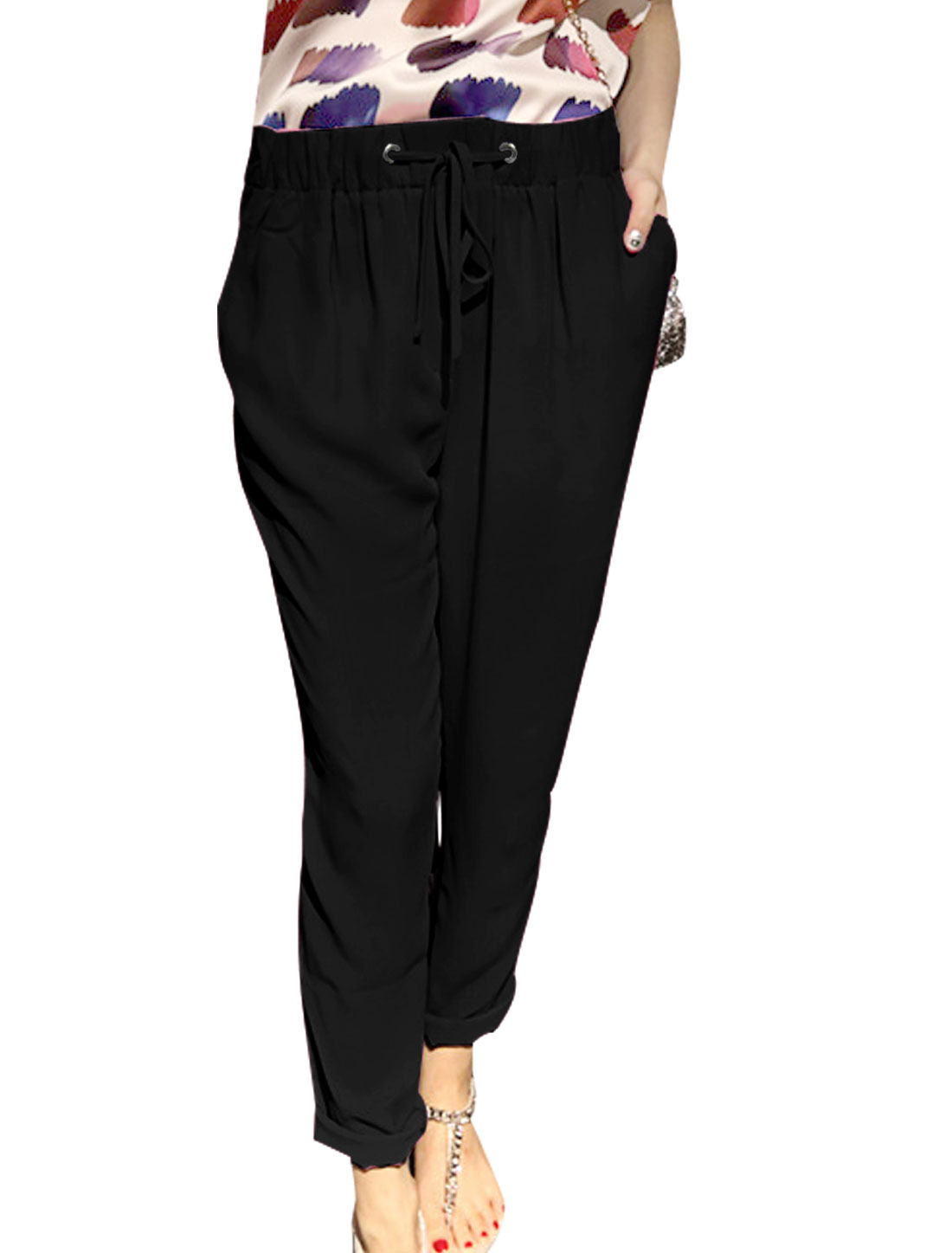 Women Drawstring Waist Double Slant Pockets Leisure Cropped Pants Black XS