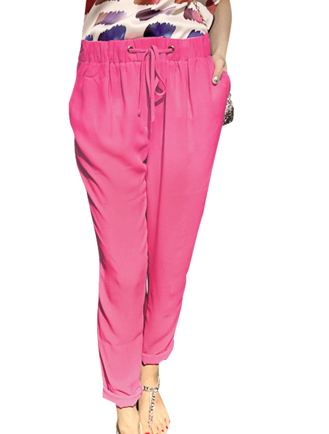 Women Double Slant Pockets Semi Sheer Leisure Cropped Pants Fuchsia XS