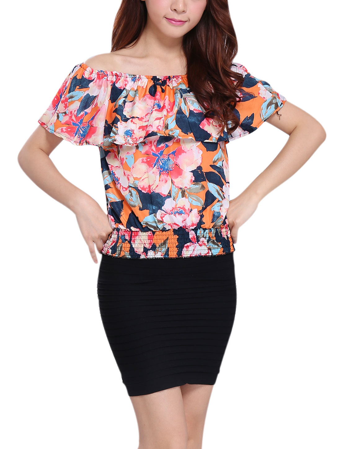 Woman's Elastic Waist Flower Print Ruffle Pullover Blouse Orange XS