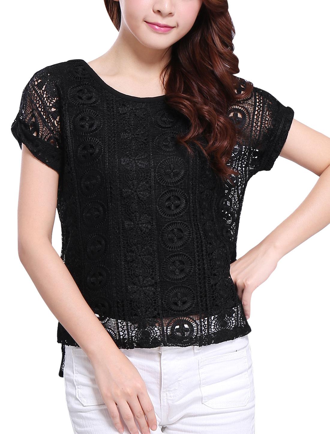 Lady Round Neck Short Batwing Sleeve Crochet Lace Top Black XS
