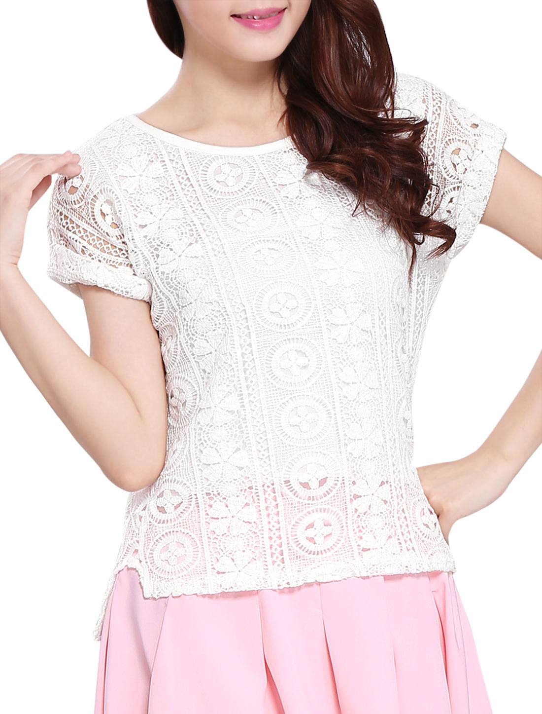 Lady Round Neck Split Detail Lining Crochet Lace Top White XS