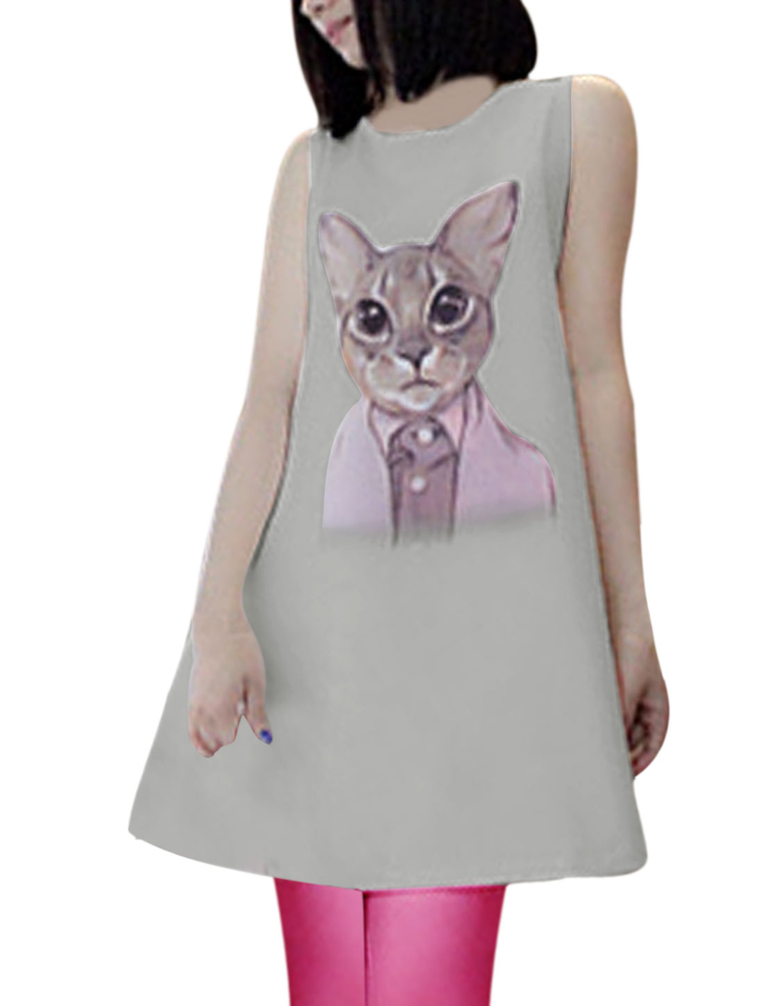 Lady Summer Round Neck Cartoon Cat Prints Shift Dress Gray XS