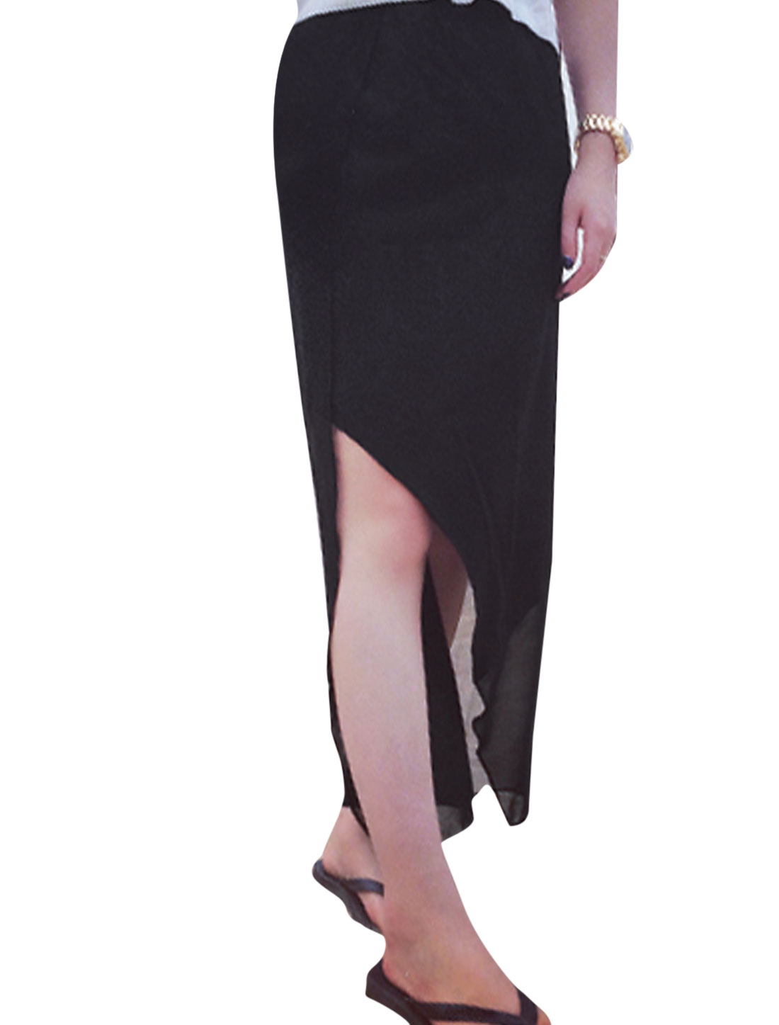 Lady Elastic Waist Split Design Asymmetrical Hem Skirt Black XS