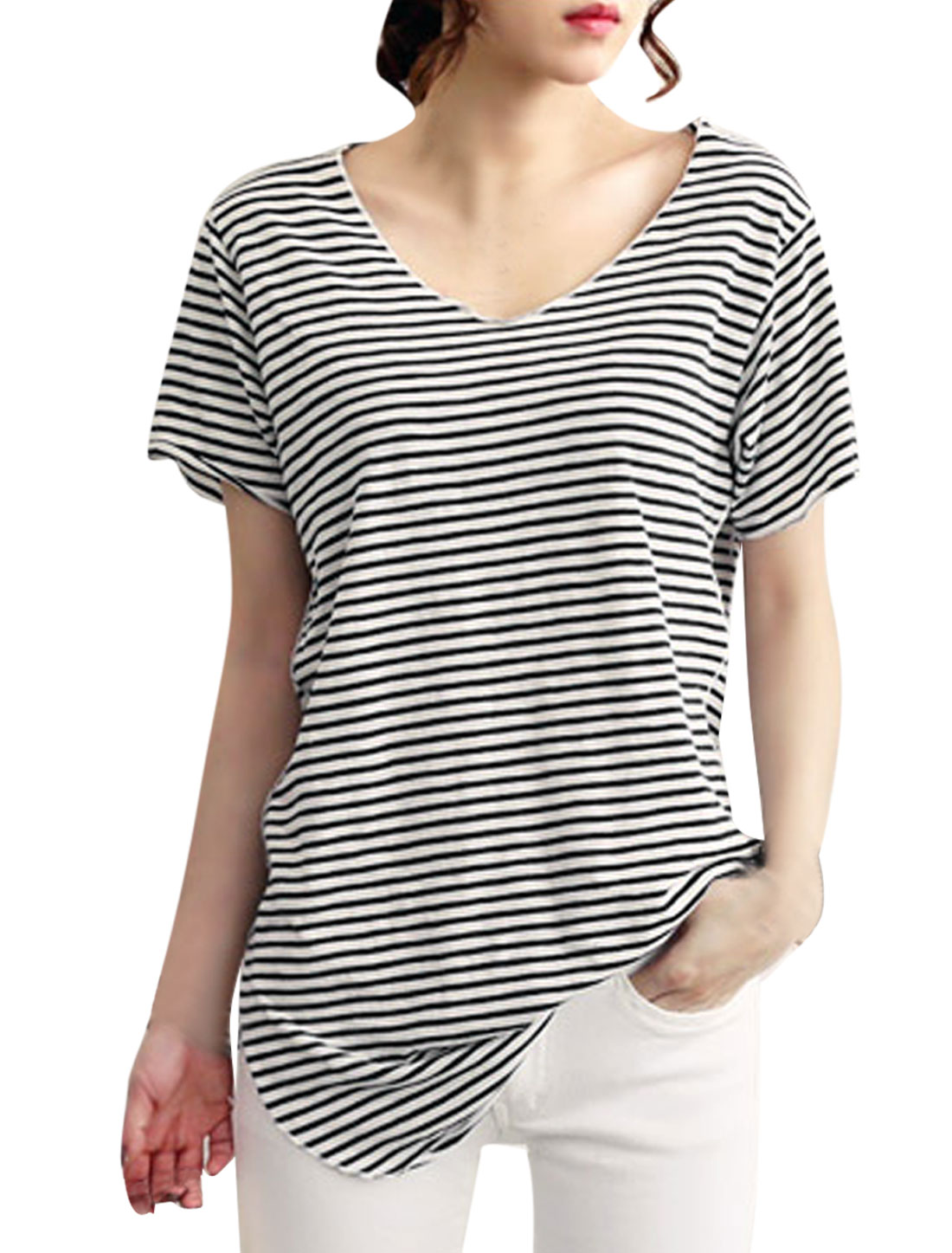 Lady Scoop Neck Stripes Round Hem Tunic Top Black White S