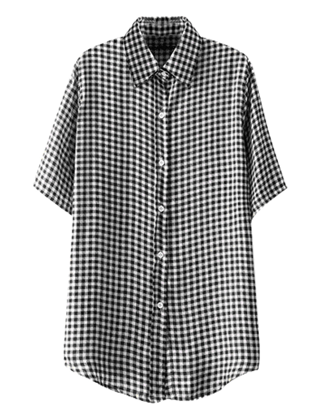 Lady Point Collar Short Sleeve Single Breasted Plaids Shirt Black S