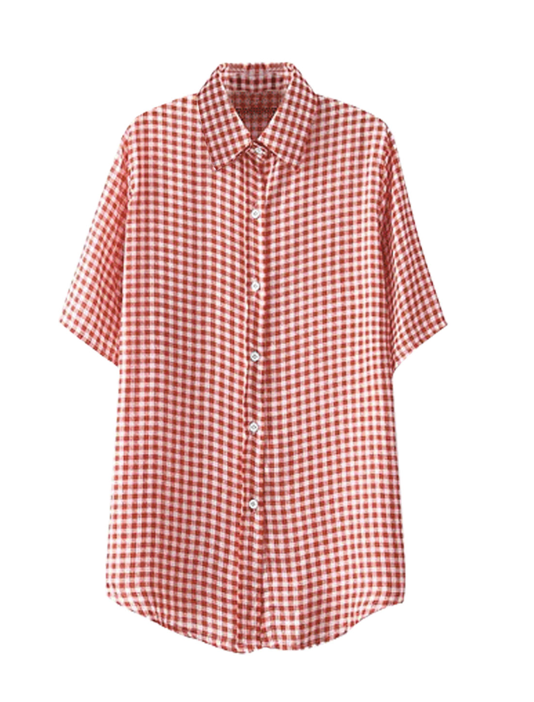 Lady Point Collar Button Closure Plaids Shirt Red S