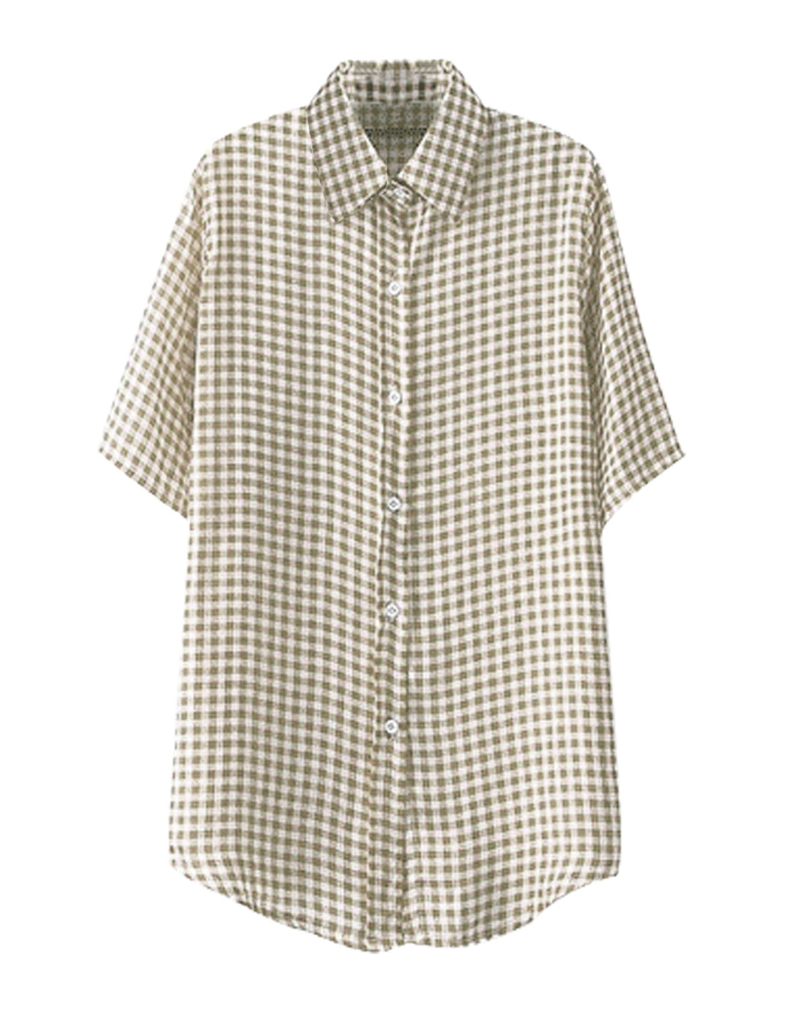 Lady Point Collar Single Breasted Plaids Summer Shirt Khaki S