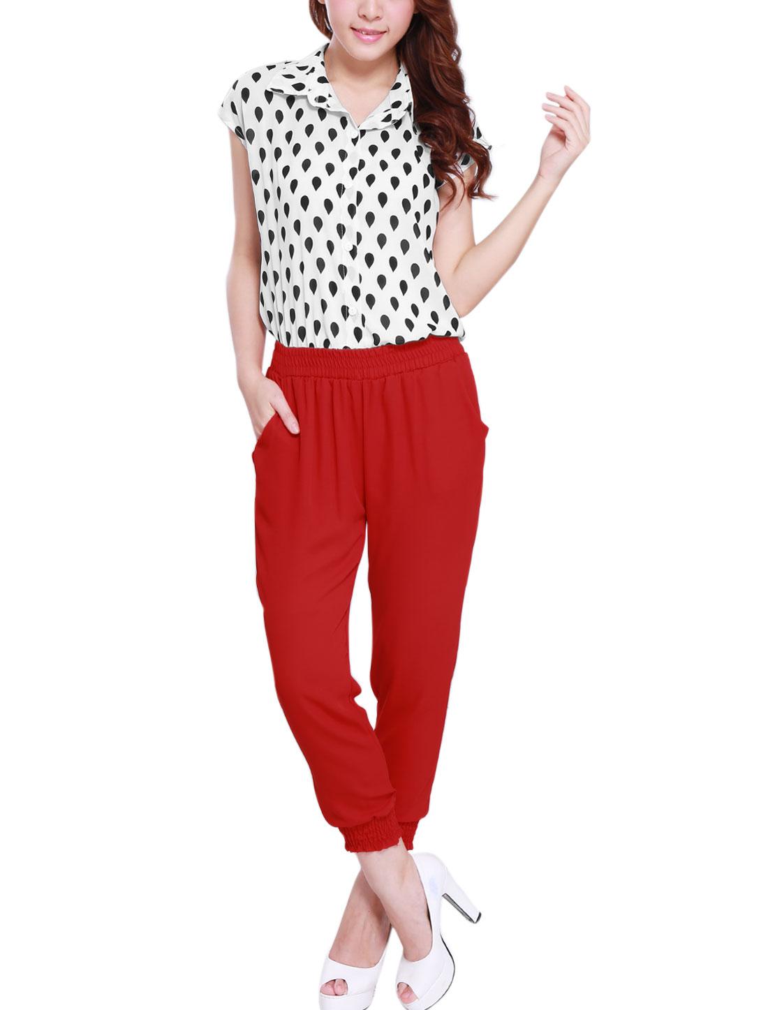 Ladies Water Drop Pattern Chiffon Top w Smocked Waist Chiffon Cropped Pants Red White XS
