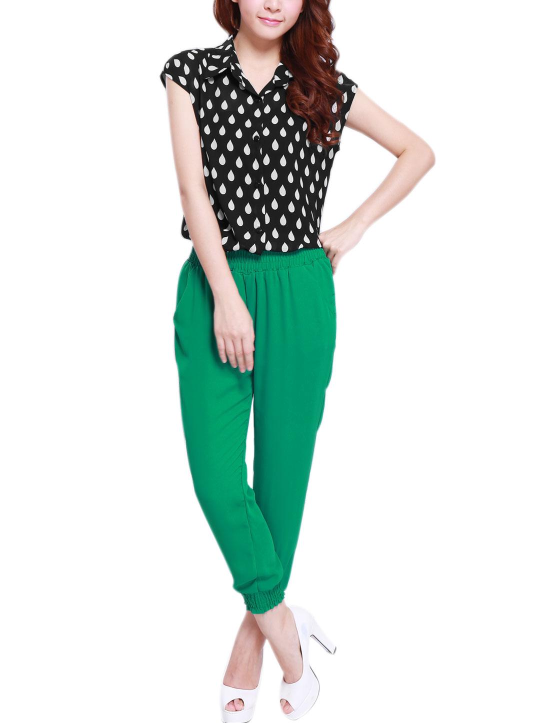 Ladies Point Collar Chiffon Top w Smocked Waist Chiffon Cropped Pants Black Green XS