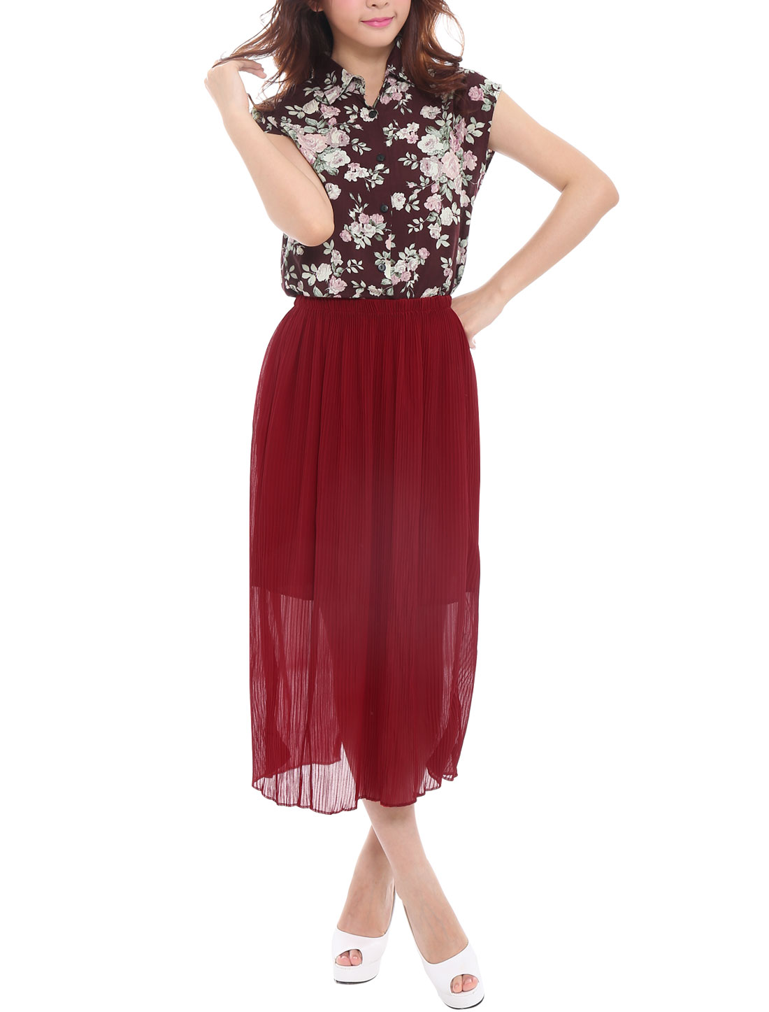 Lady Pleated Burgundy Skirt w Floral Prints Dark Burgundy Top XS