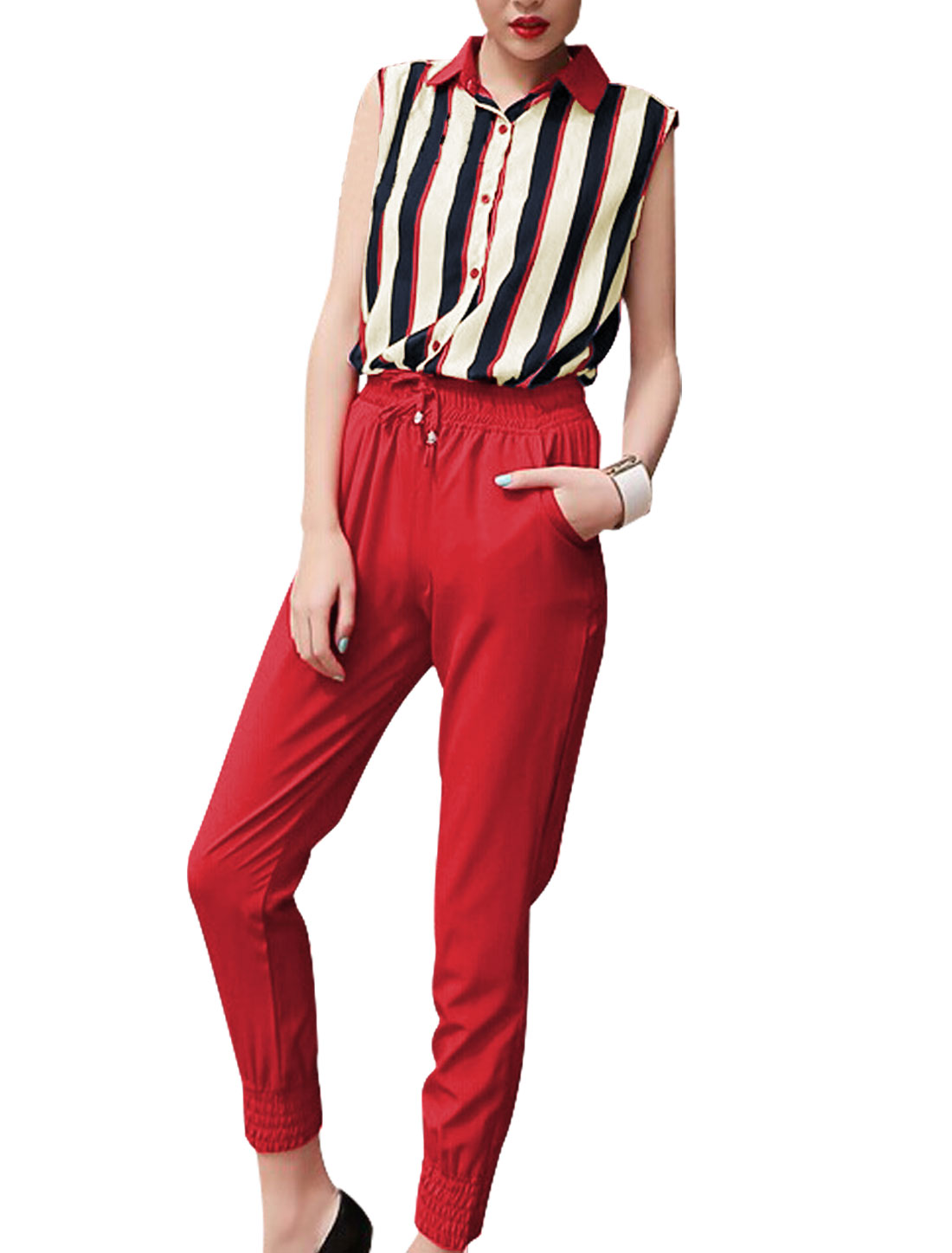 Lady Button Down Striped Chiffon Shirt w Elastic Waist Cropped Pants Red XS