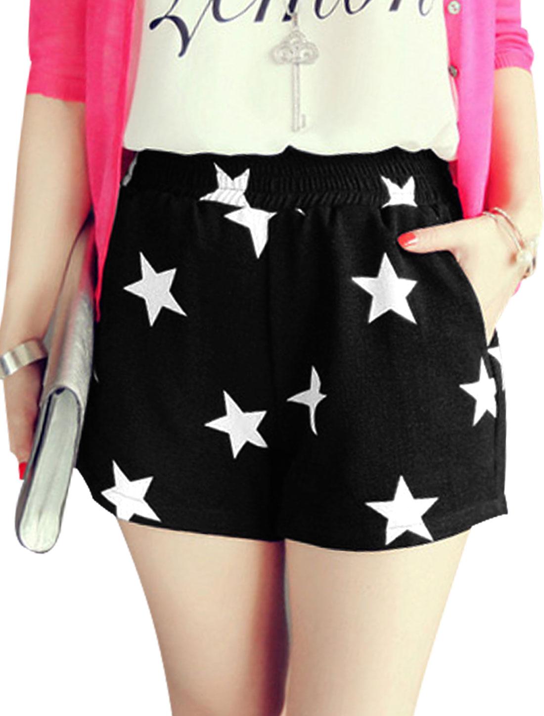 Lady's Summer Wear Stars Pattern Elastic Waist Black Causal Shorts XS