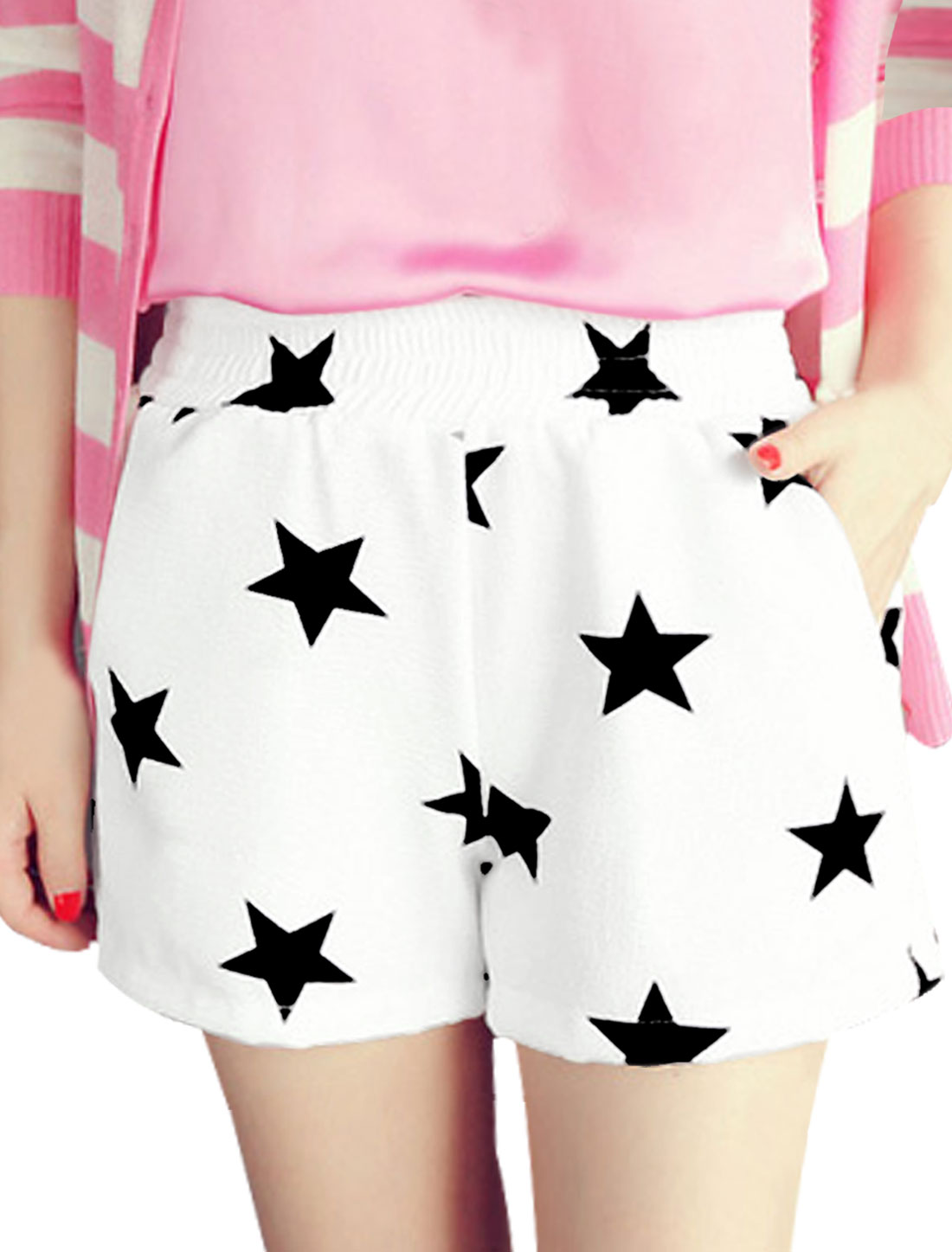 Lady's Sweet Summer Wear Elastic Waist Stars Pattern White Causal Shorts XS