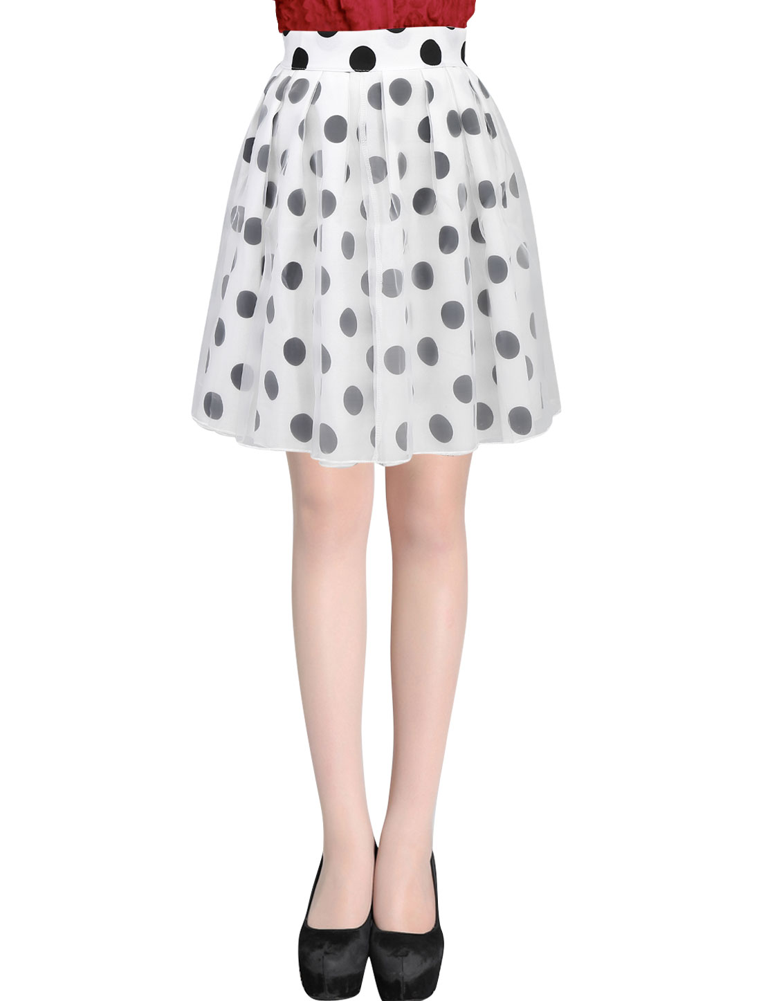 Ladies Sweet Pleated Design Dots Pattern Lining Organza Full Skirt White XS