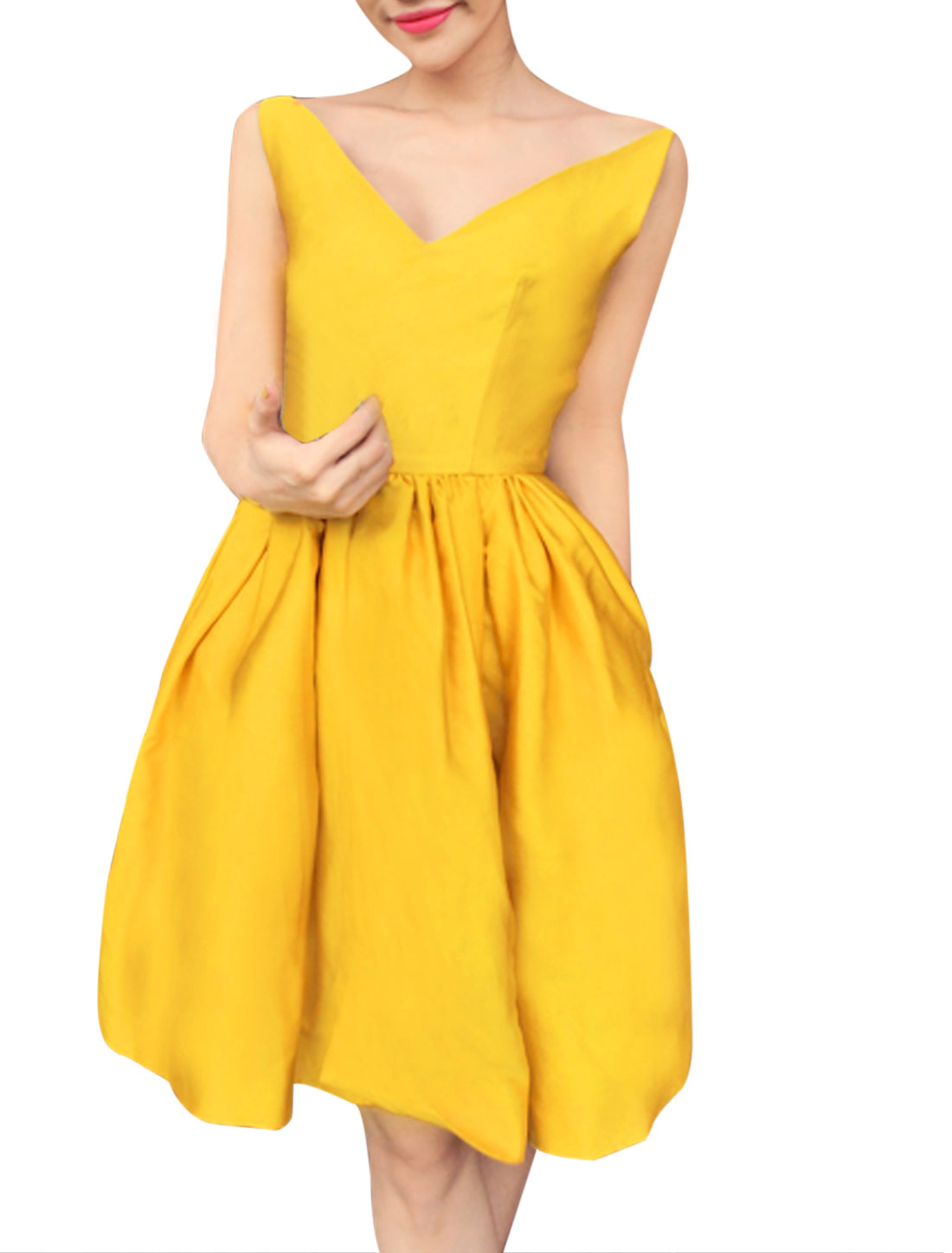 Lady Off Shoulder V Neck Sleeveless Concealed Zipper Side Dress Bright Yellow S