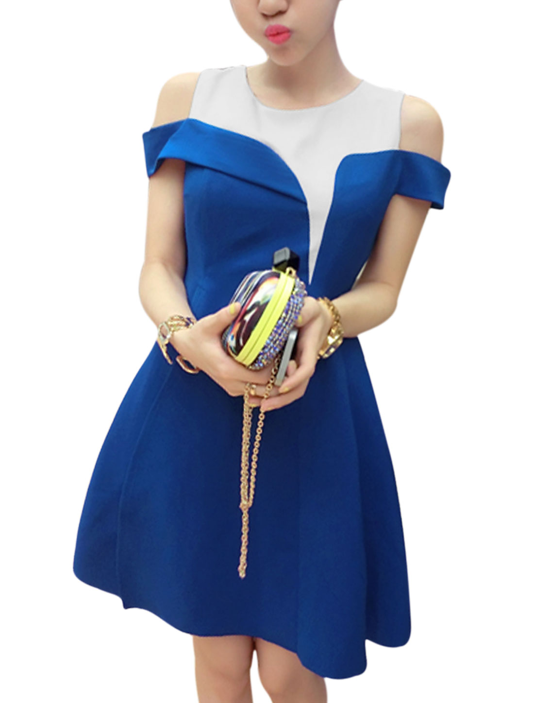 Ladies Cut Out Shoulder Side Split Splicing Elegant Dress Royal Blue M