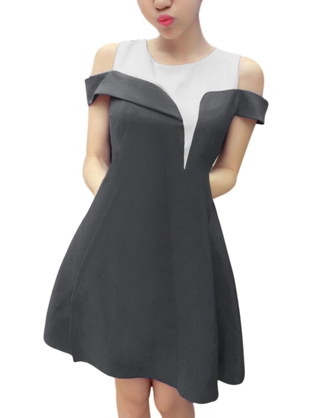 Ladies Cut Out Shoulder Round Neck Splicing Elegant Dress Dark Gray M