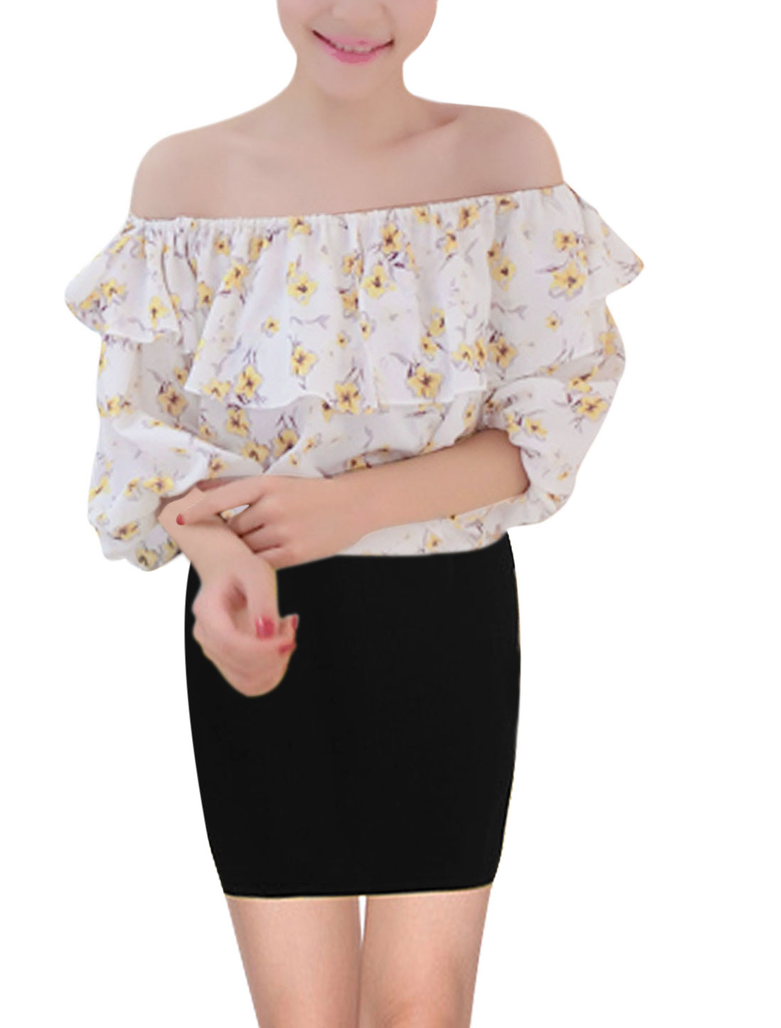 Women Elastic Off Shoulder Flouncing Top Floral Prints Top Yellow S