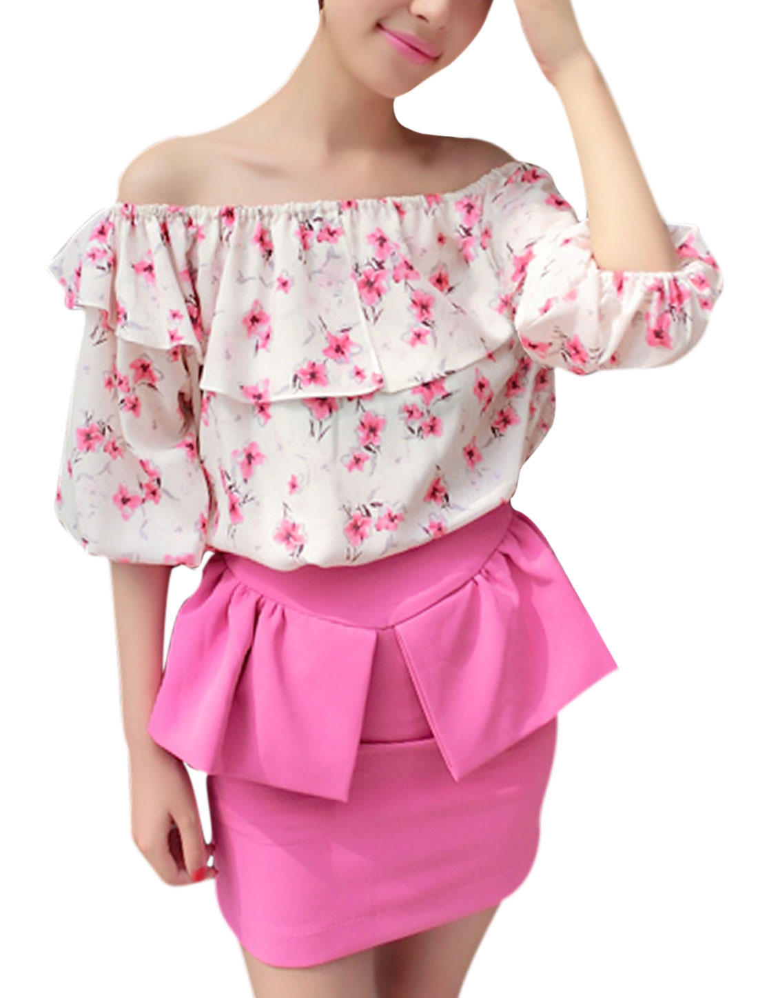 Women Elastic Off Shoulder Flower Pattern Top Fuchsia S