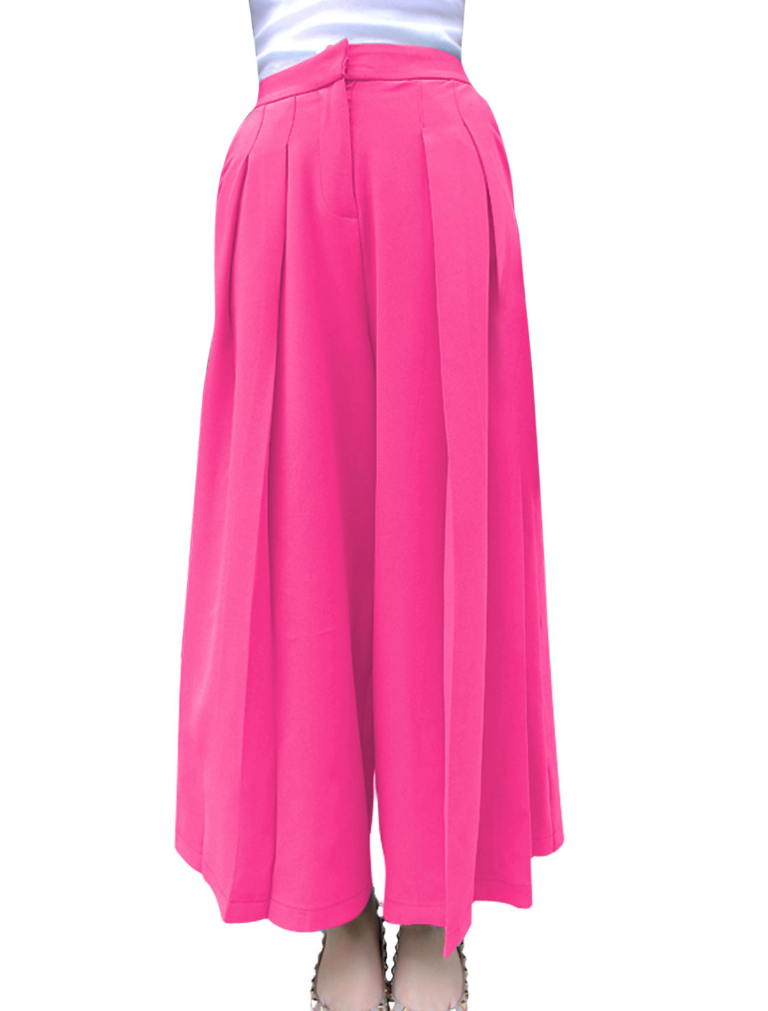 Women Zip Fly Pleated Design Casual Cropped Palazzo Pants Fuchsia M