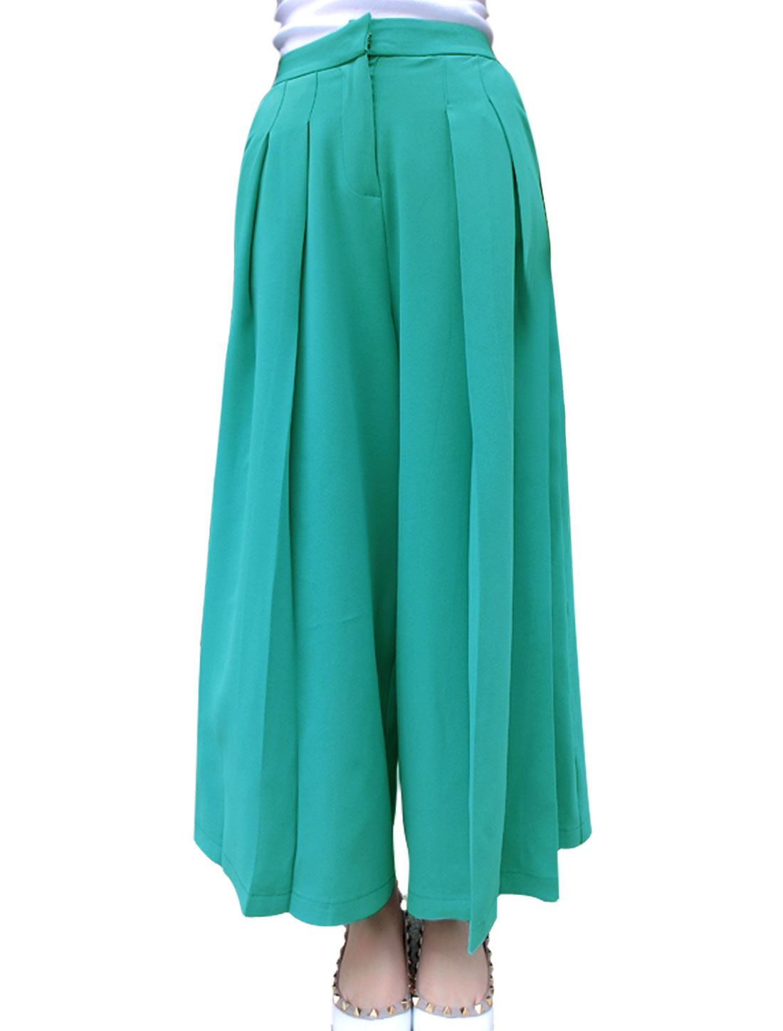 Women Zip Fly Fake Hip Pockets Casual Cropped Palazzo Pants Green M