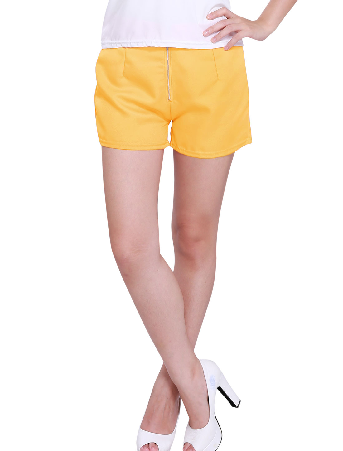Women Zipper Fly Front Ruched Detail High Waist Elegant Shorts Yellow M
