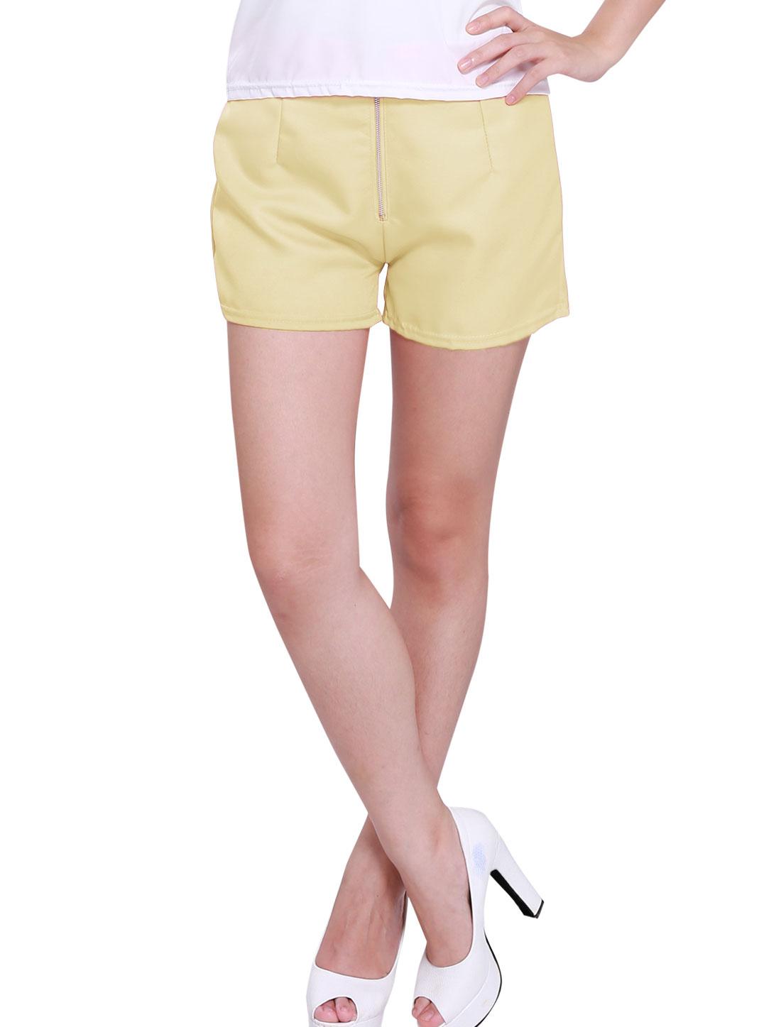 Women Zipper Fly Front Elastic Waist Elegant Shorts Beige S