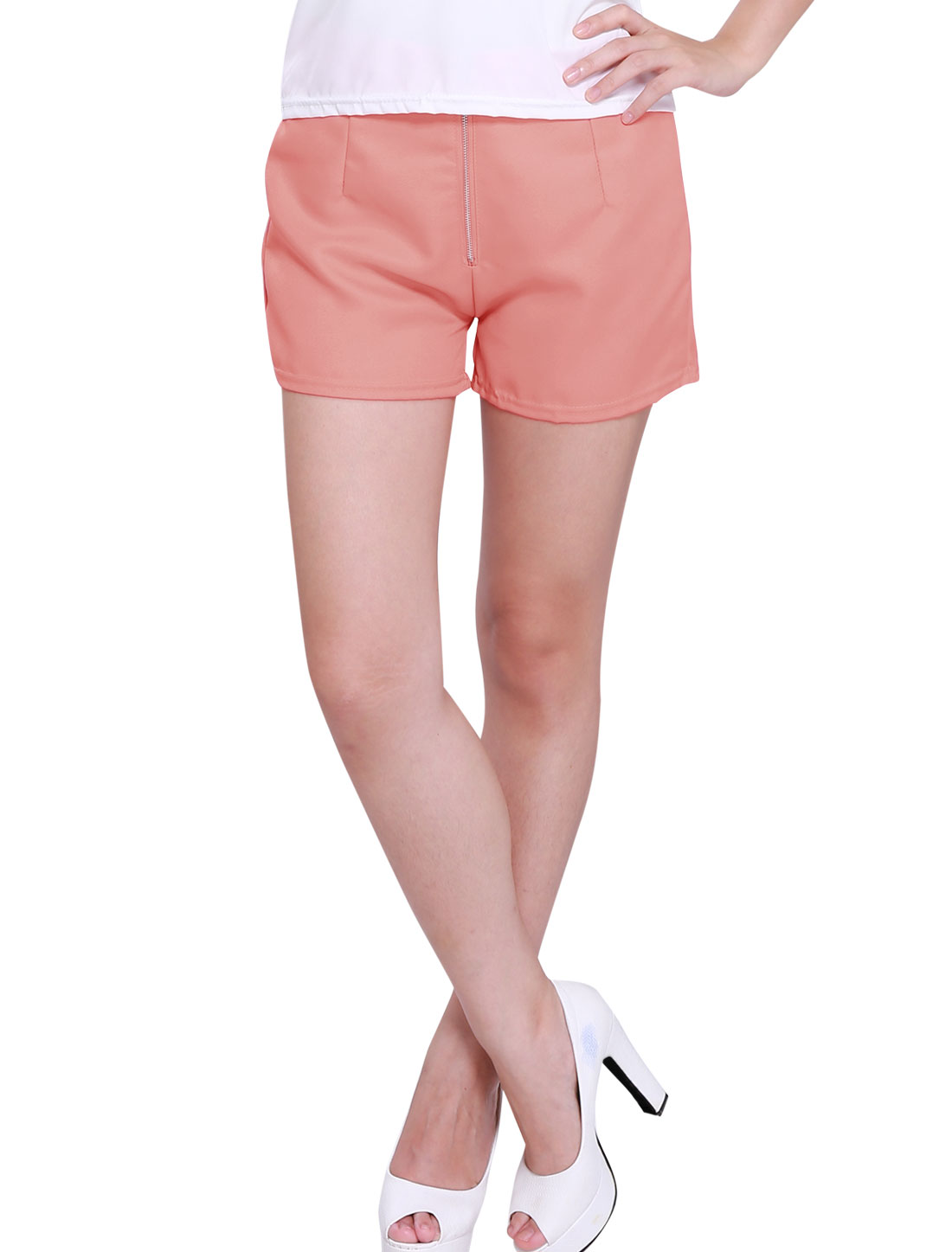 Zipper Fly Front High Rise Elastic Waist Elegant Shorts for Lady Pink S