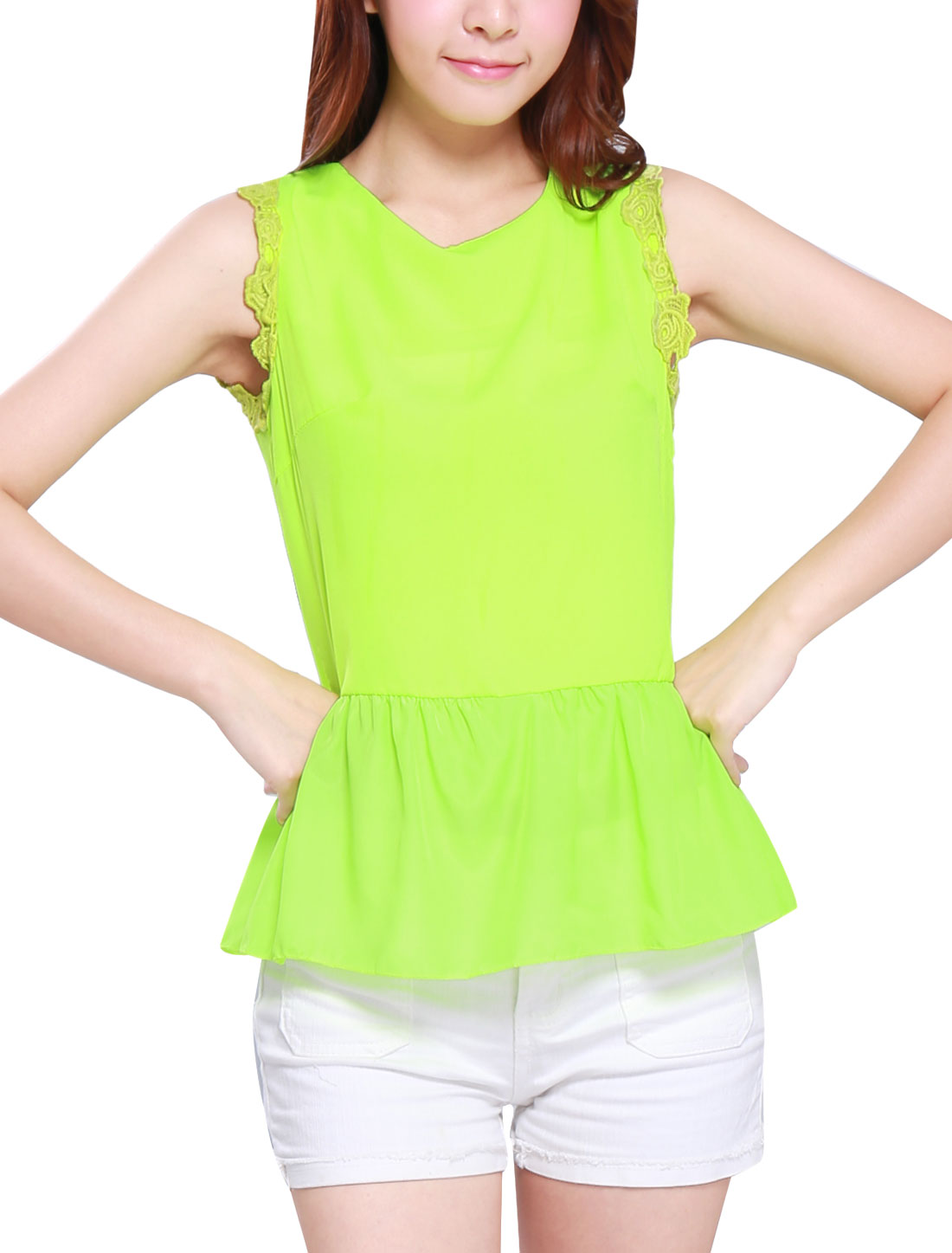 Ladies Crochet Decor Flouncing Hem Sweet Peplum Tank Top Lime Green XS