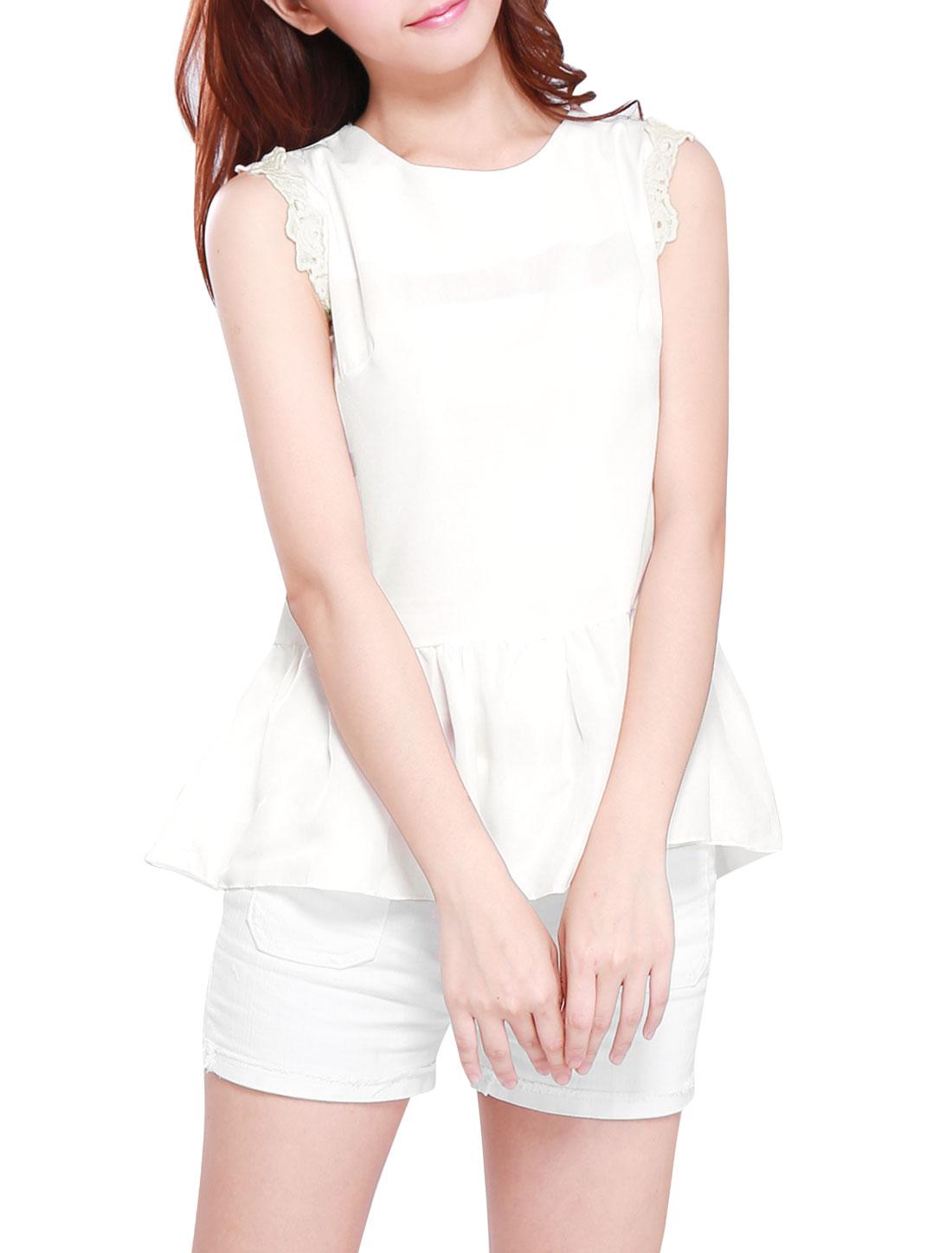 Ladies Crochet Decor Sleeveless Flouncing Hem Sweet Peplum Tank Top White XS