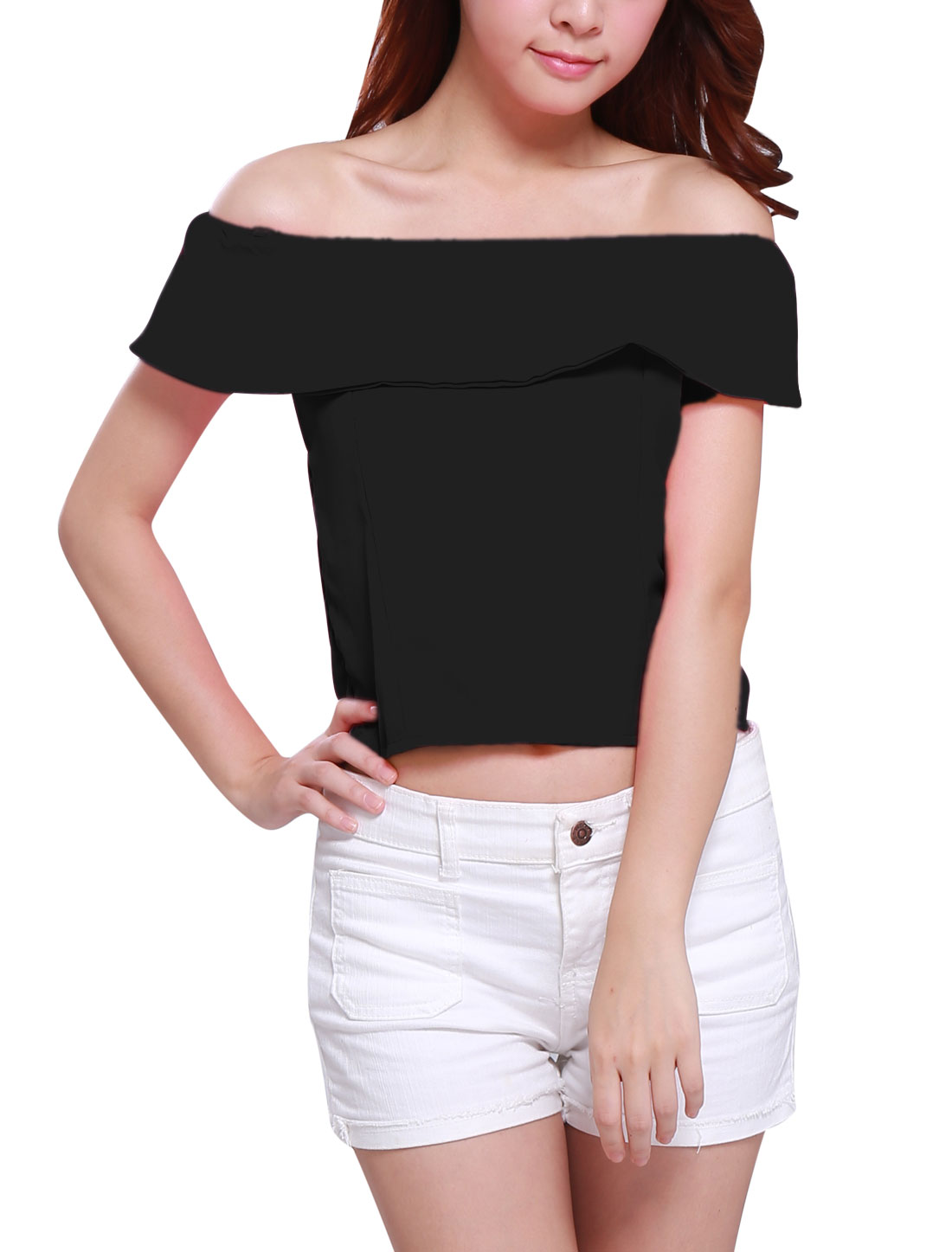 Women Elegant Off Shoulder Sleeveless Ruffled Upper Cropped Top Black XS