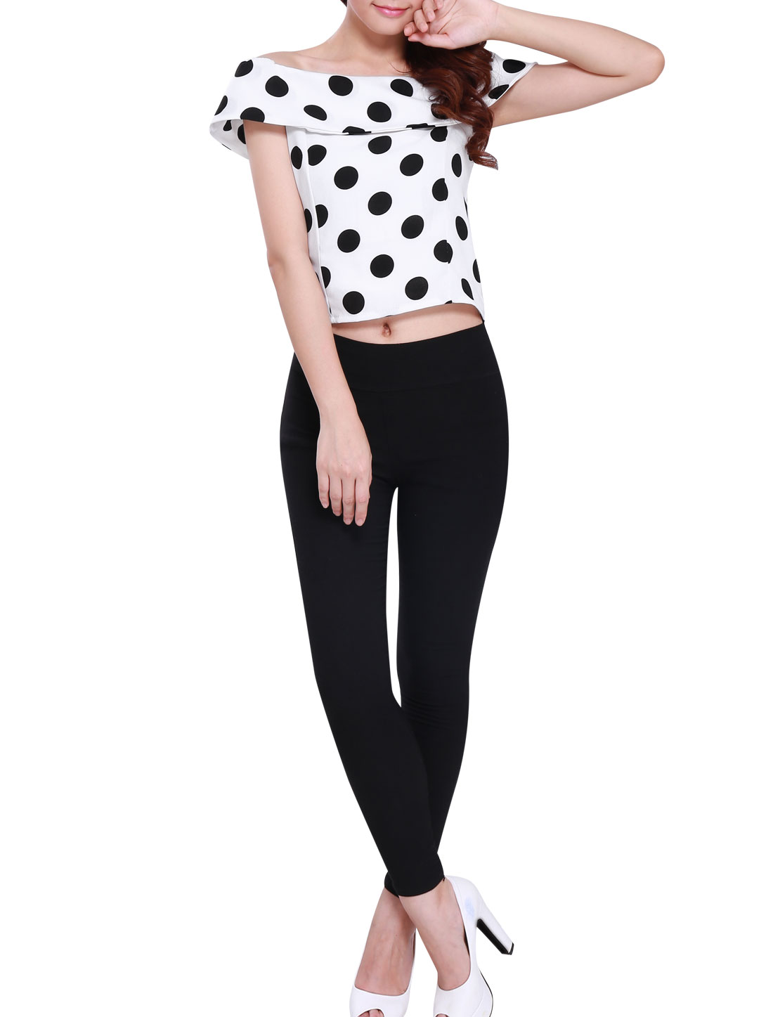 Women Off Shoulder Dots Ruffled Upper Slim Fit Cropped Top White XS