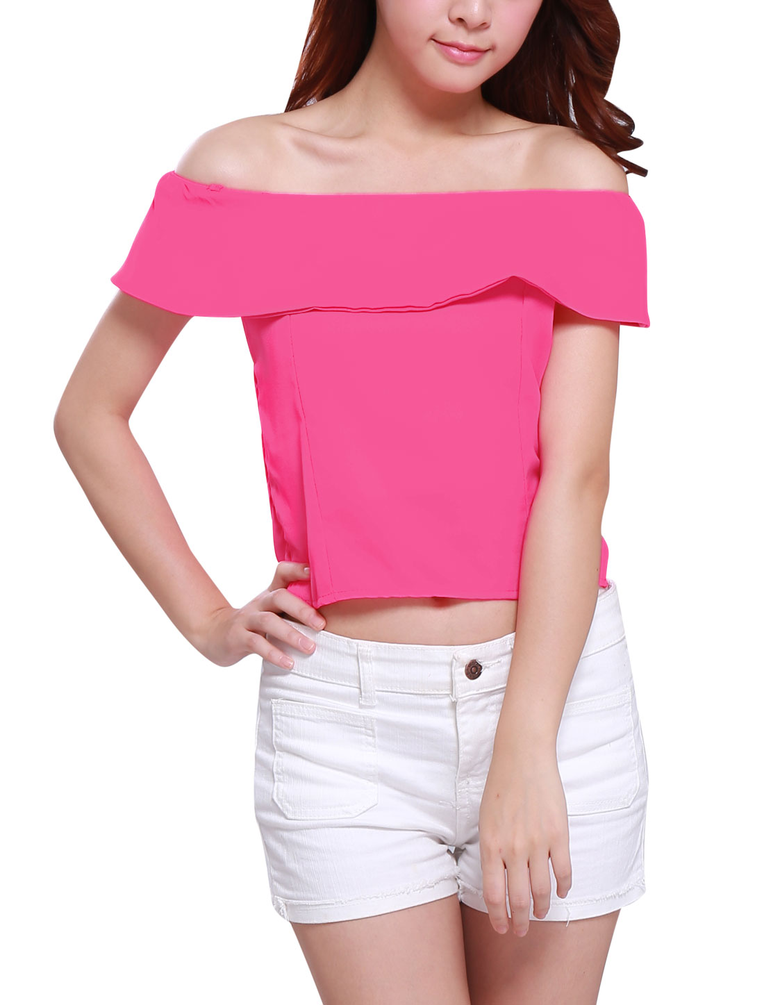 Women Elegant Conceal Side Zipper Ruffled Upper Cropped Top Fuchsia XS