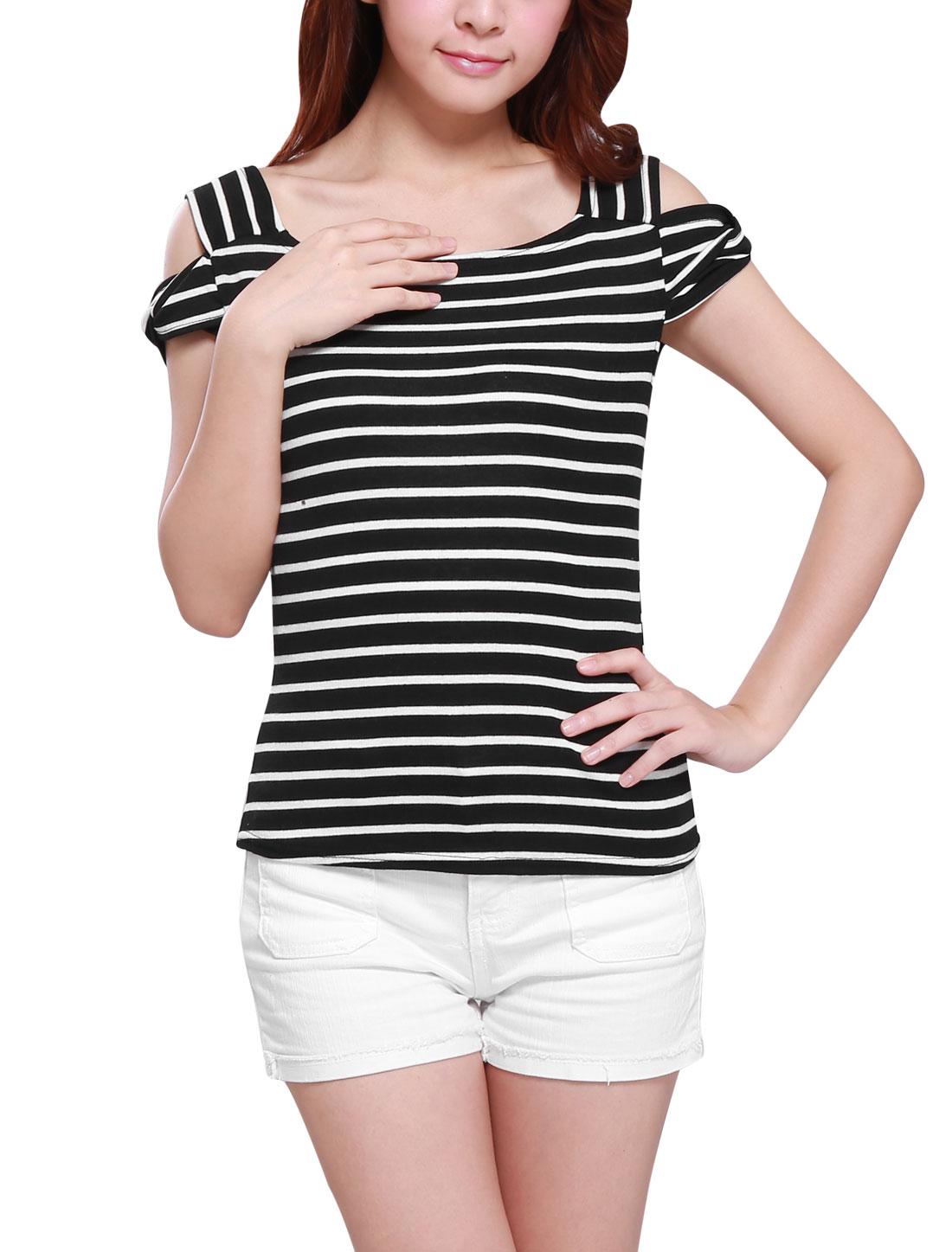Women Sqaure Neckline Cut Out Shoulder Stripes Slim Fit Knit Top Black White XS