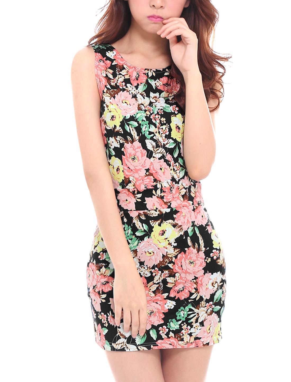 Lady's Hidden Side Zipper Cut Out Back Floral Print Bodycon Dress Black XS