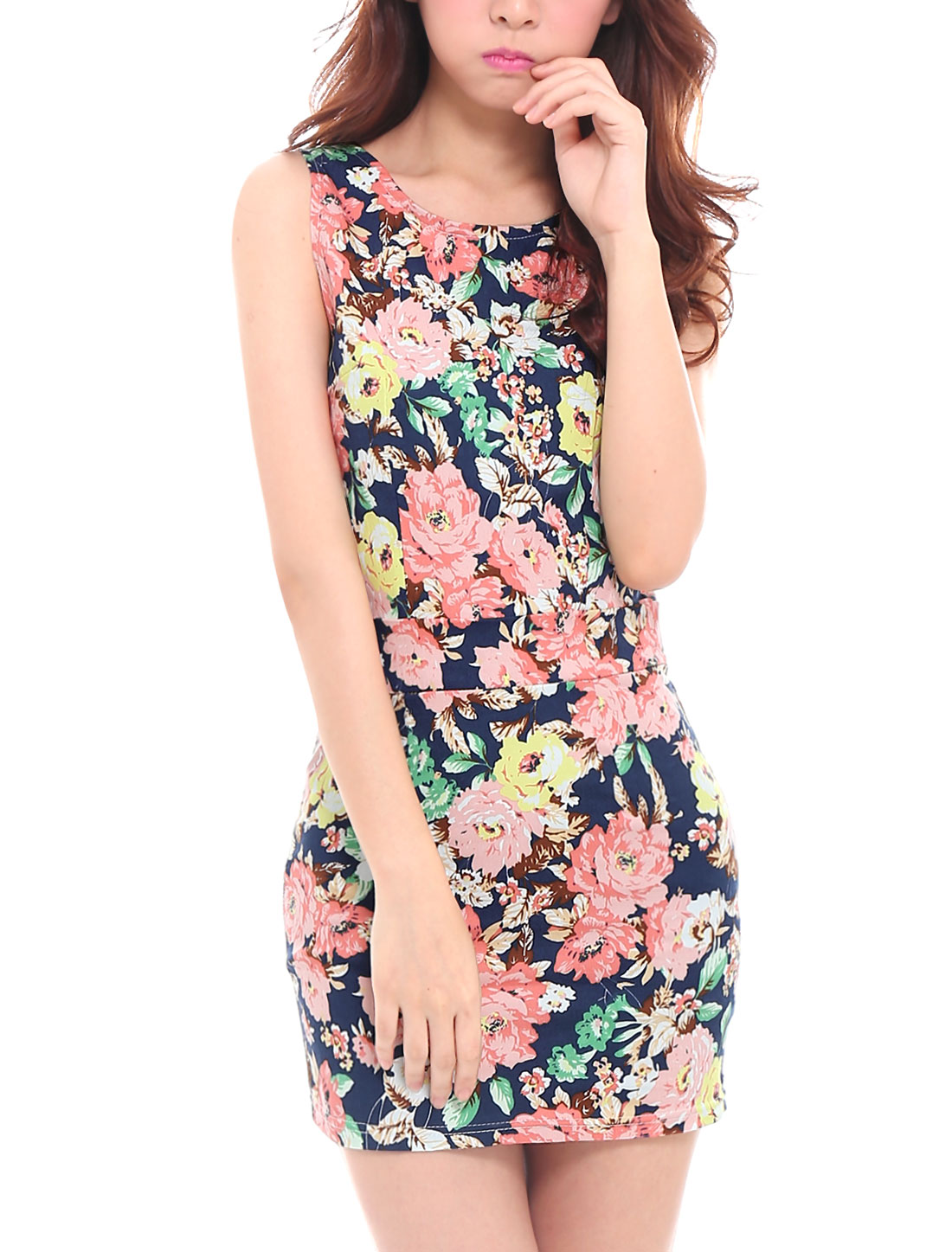 Lady Side Zipper Cut Out Back Floral Print Bodycon Short Dress Navy Blue XS