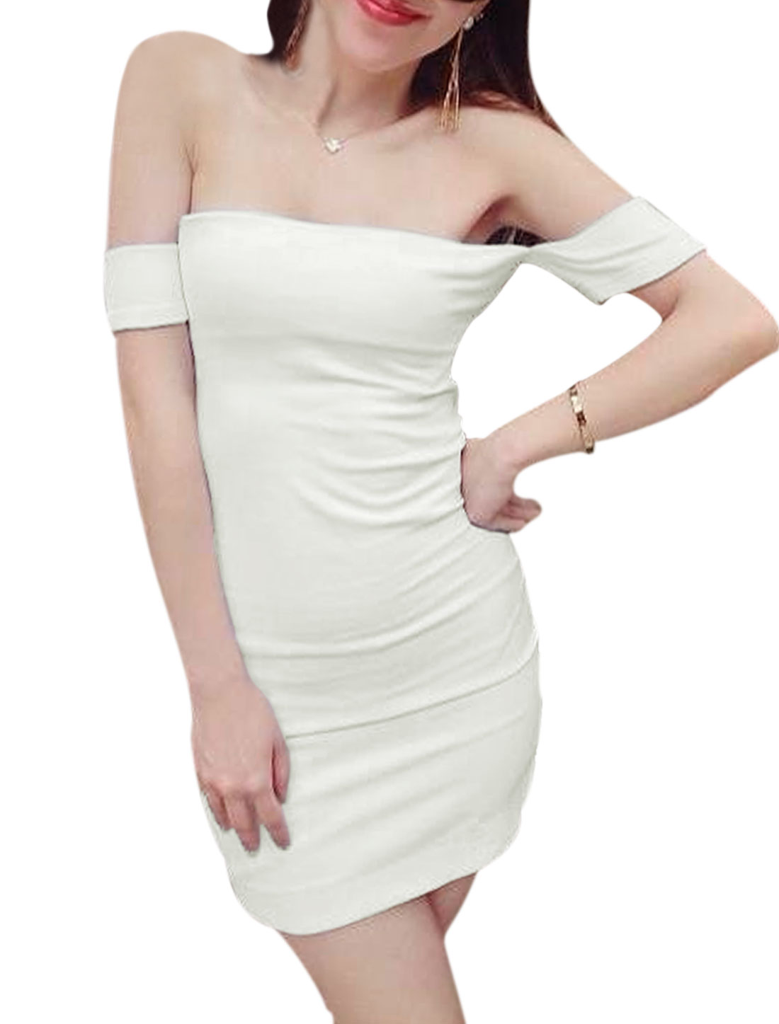 Lady Off Shoulder Above Knee Stretch Bodycon Dress White XS