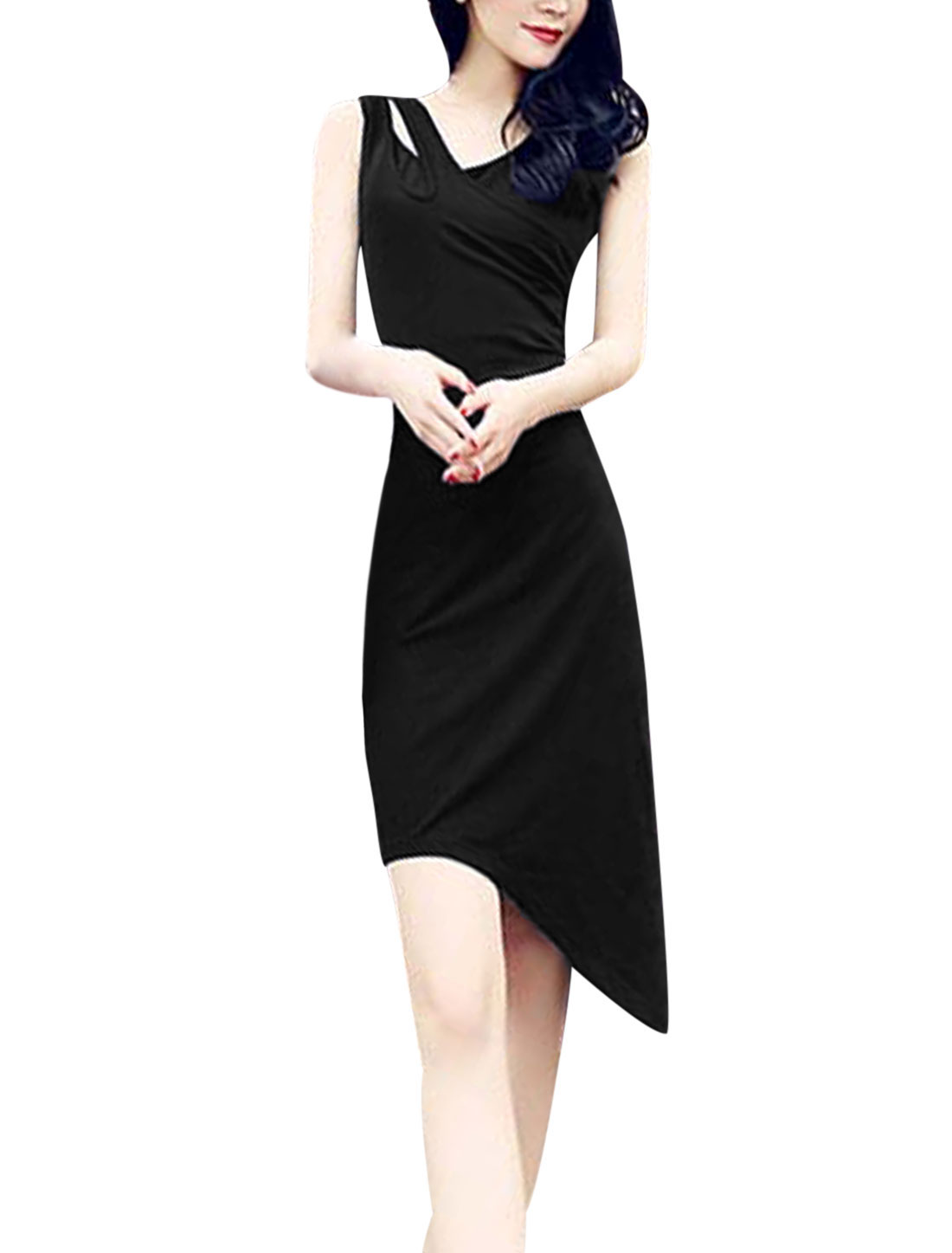 Lady Sleeveless V Neck Cut Out Asymmetric Hem Bodycon Dress Black XS