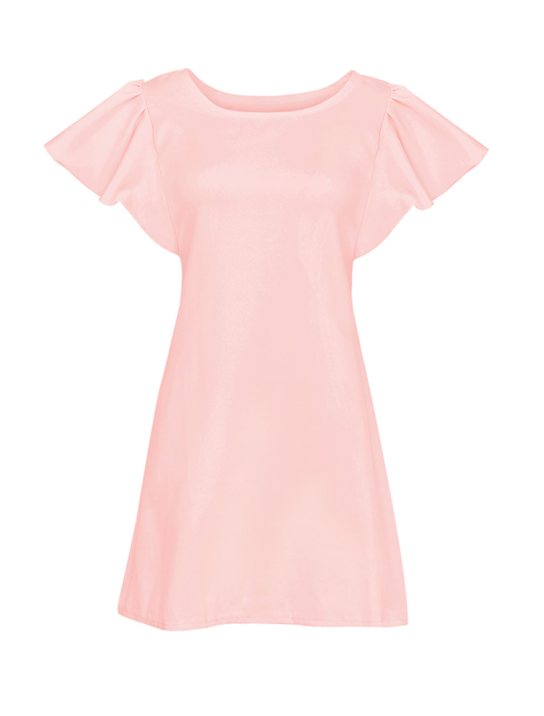Women Round Neck Short Flouncing Sleeve Dress Pink XS