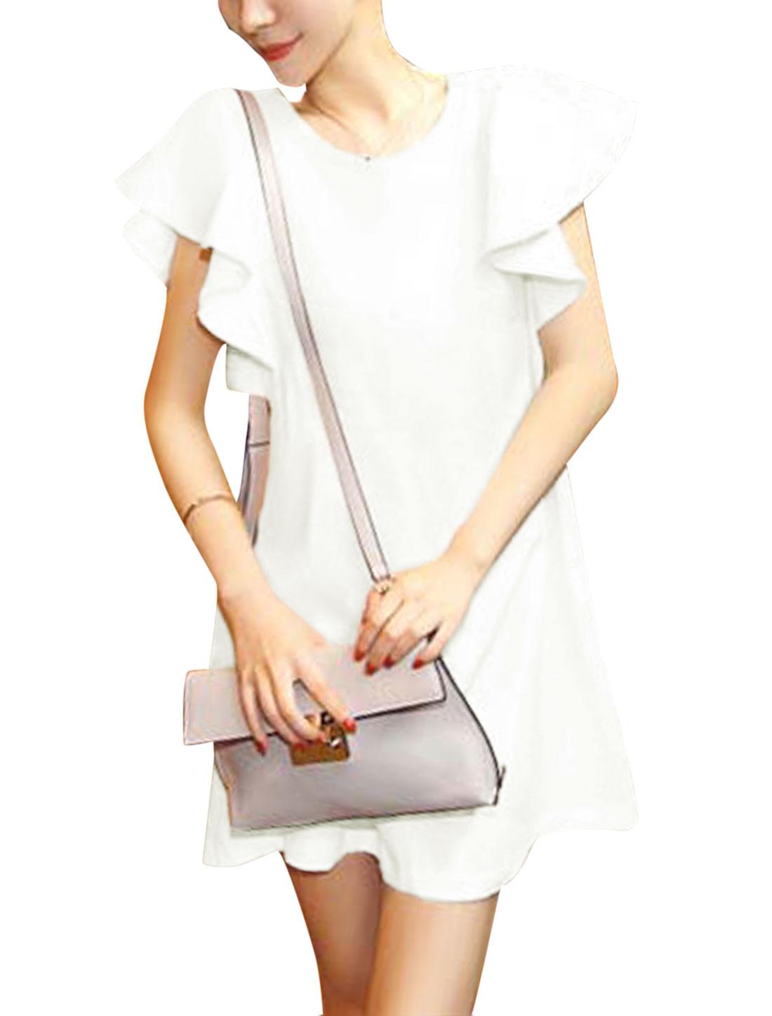 Women Short Flouncing Sleeve Dress Off White XS