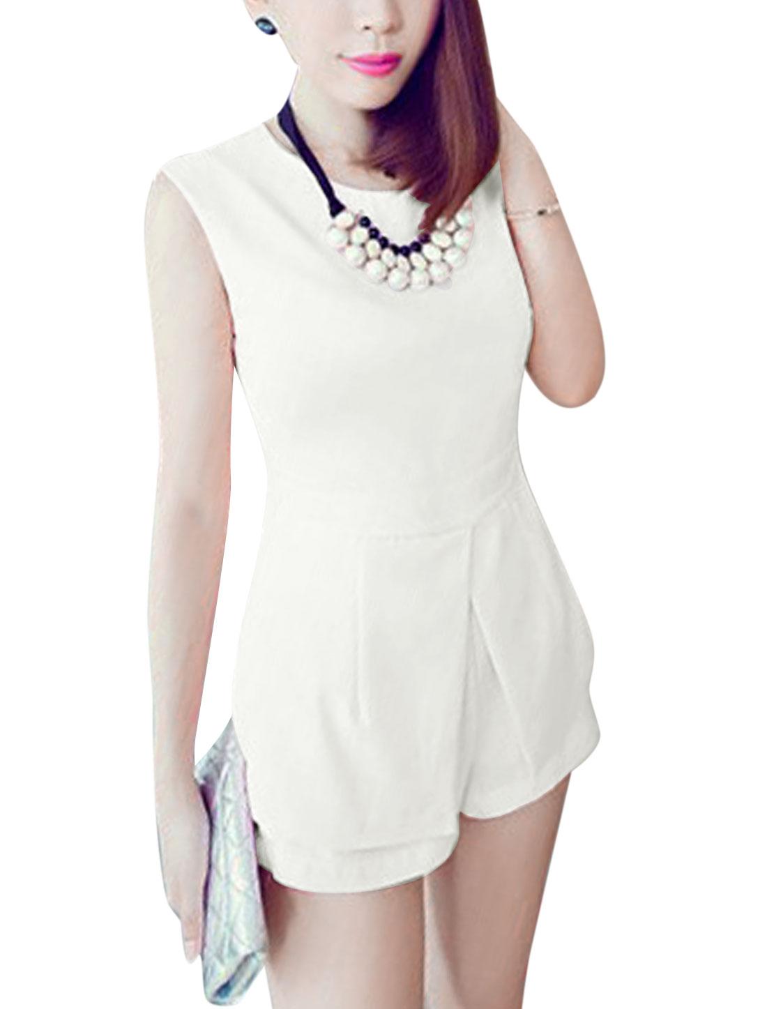 Lady Zipped Side Shorts w Hidden Zipper Side Top Off White M