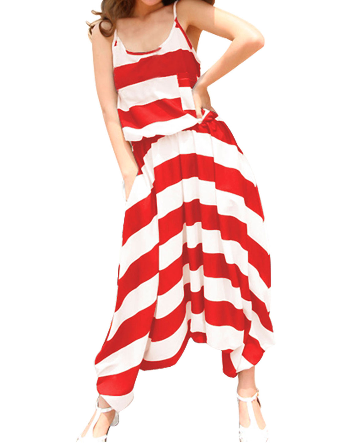 Lady Spaghetti Strap Chest Pocket Elastic Waist Striped Harem Jumpsuit Red White XS