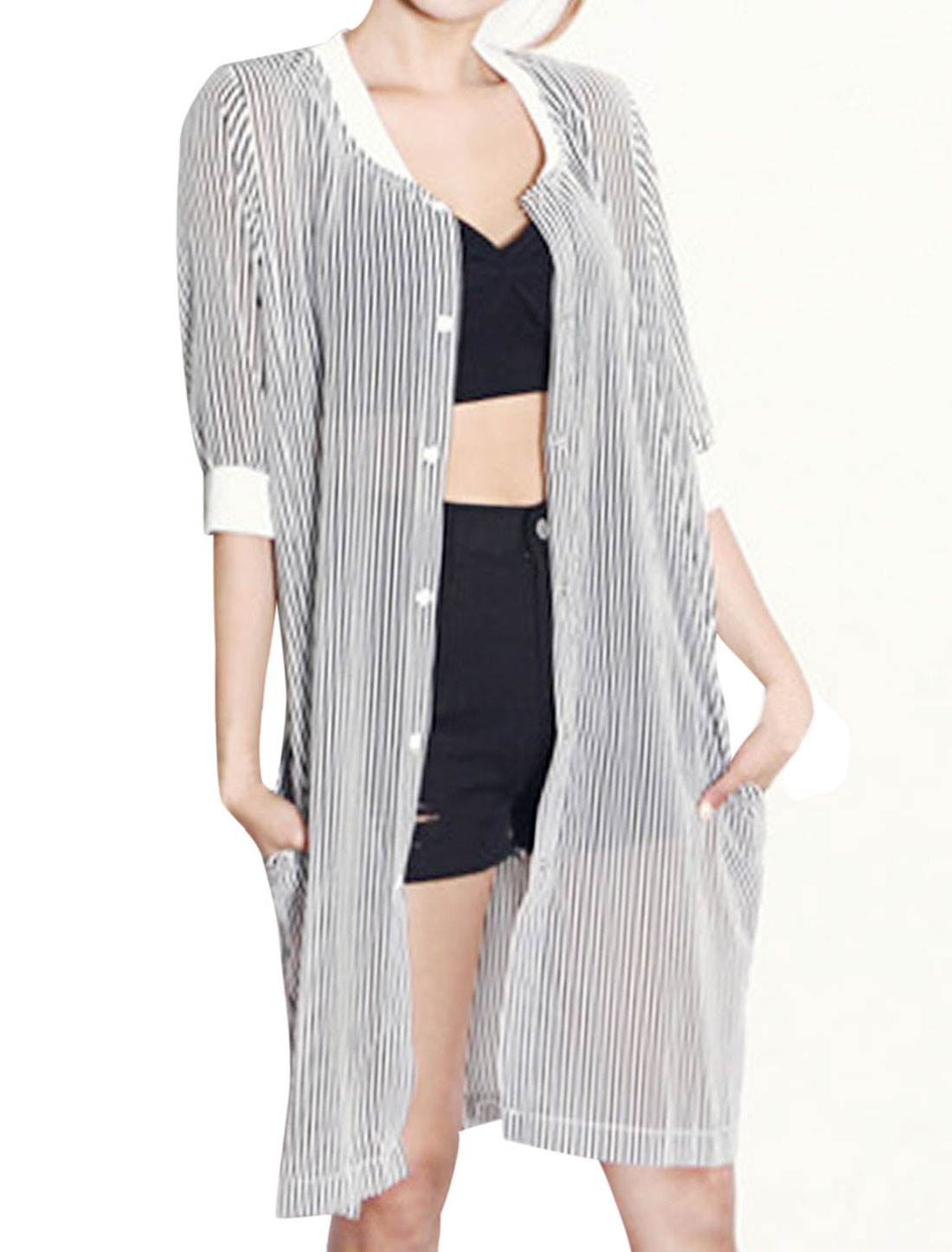 Women Single Breasted Stripes Thin Long Cardigan Black White XS