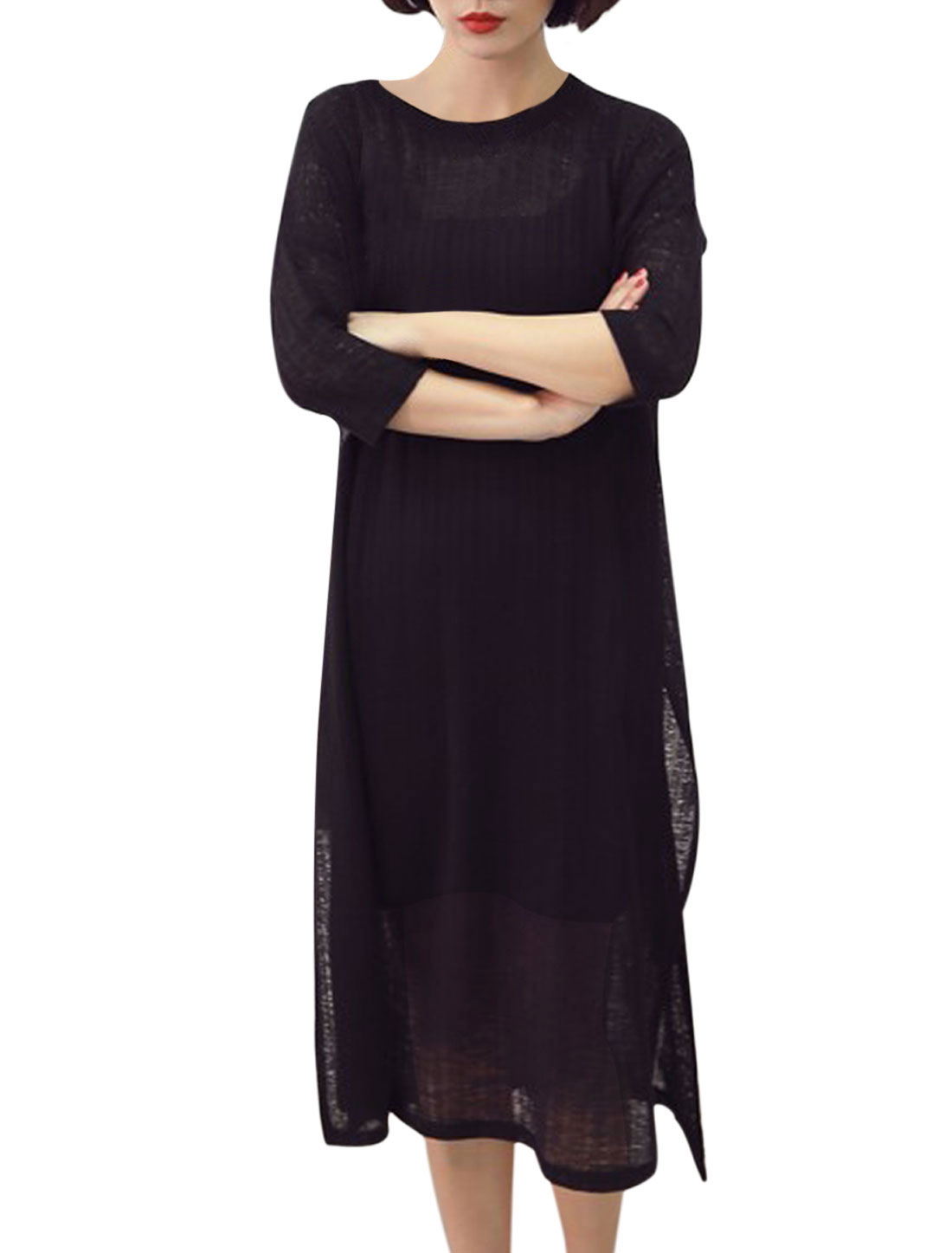 Women Fashion 3/4 Sleeve Side Split Shift Knit Dress Black XS