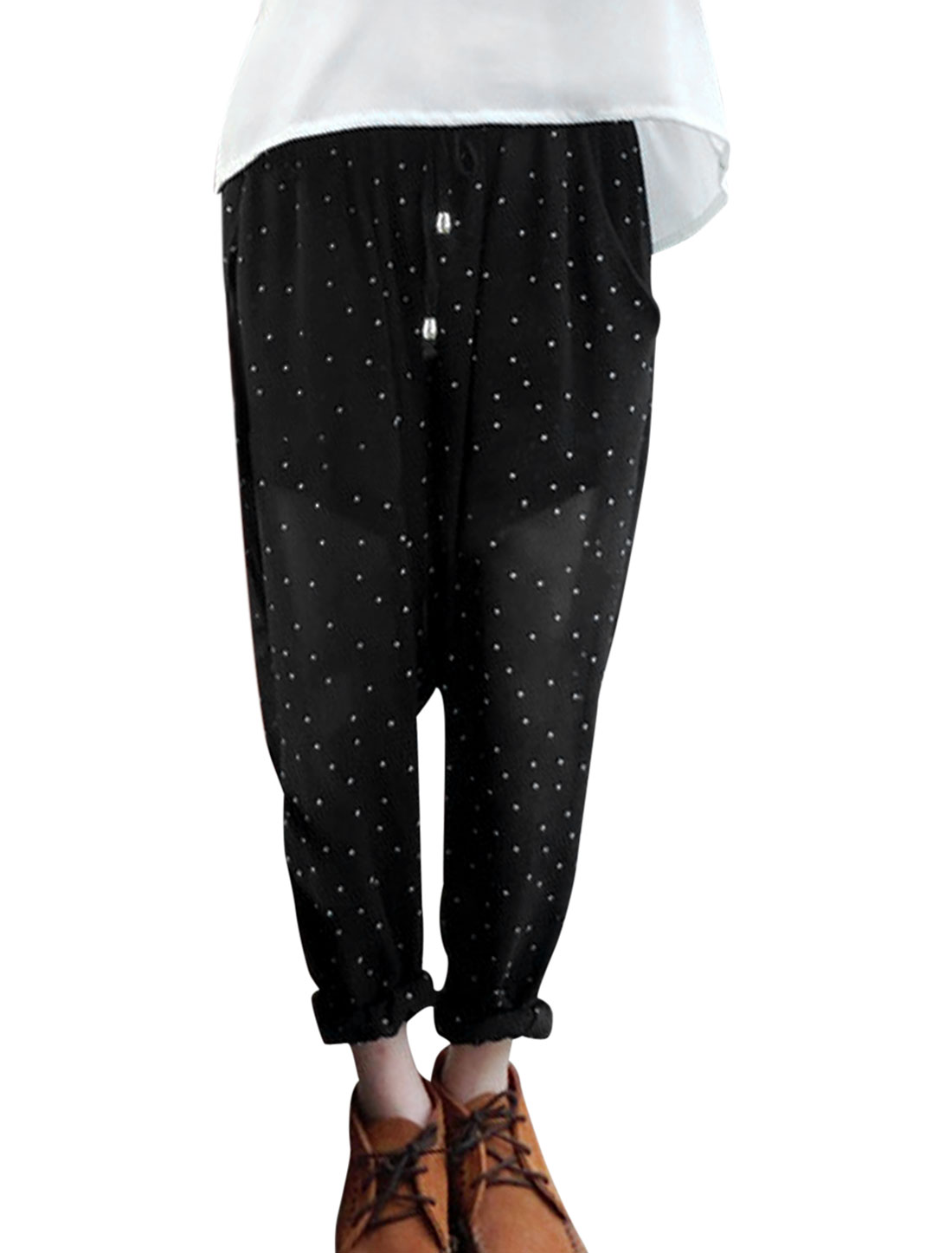 Lady's Elastic Waist Dots Pattern Lining Black XS Chiffon Harem Pants