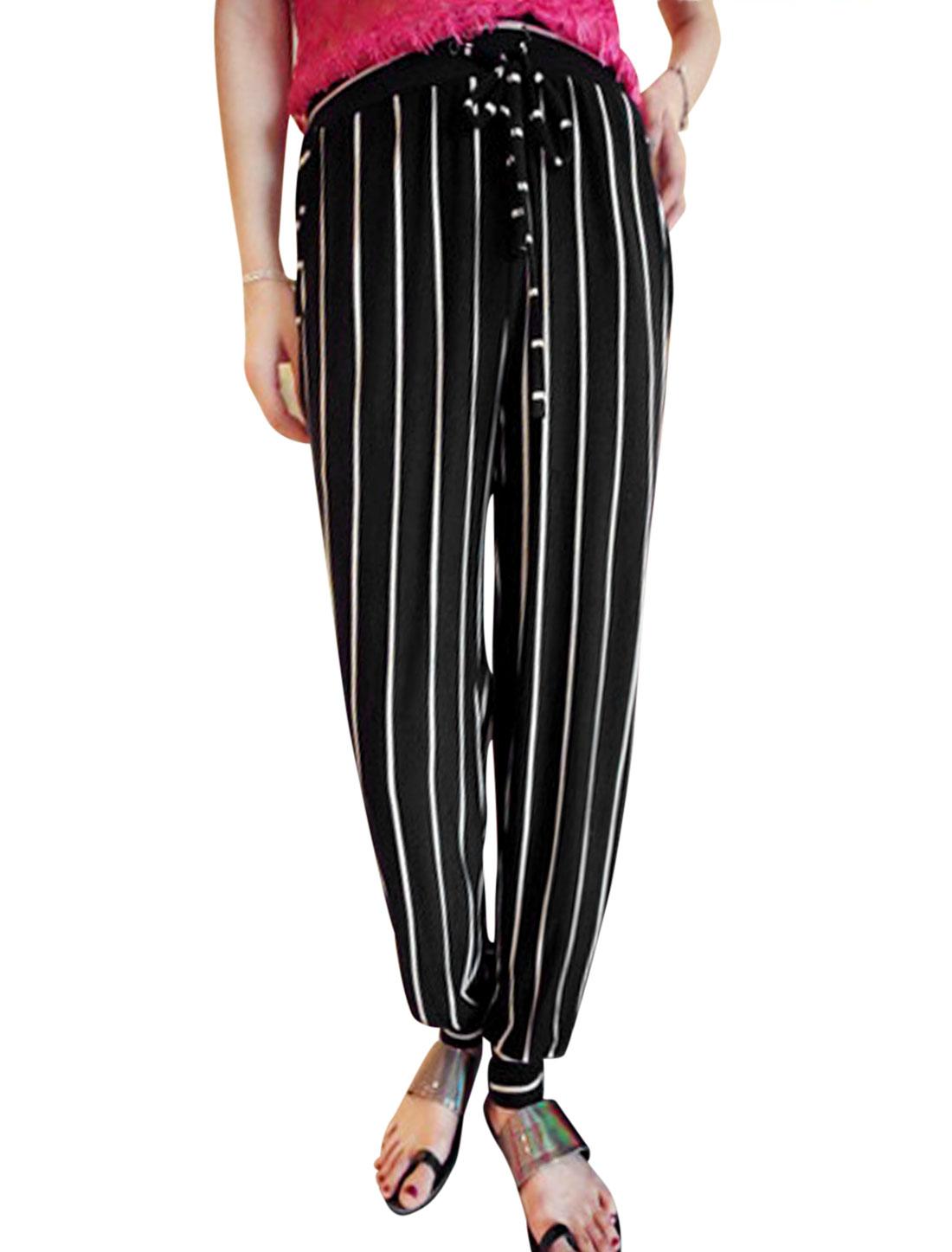 Lady Elastic Drawstring Waist Stripes Tight Cuffs Casual Pants Black XS