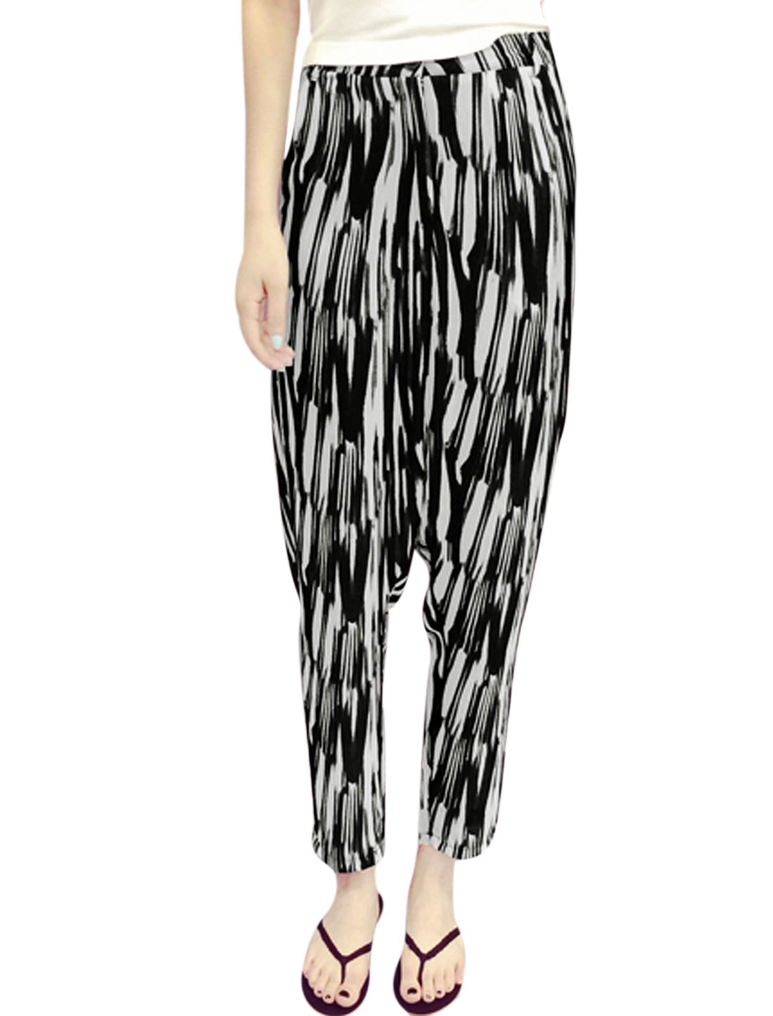 Lady Zip Fly Novelty Prints Harem Style Pants Black White S