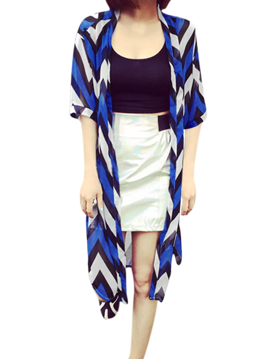 Lady Front Opening Zig-Zag Pattern Long Chiffon Cardigan Blue White S